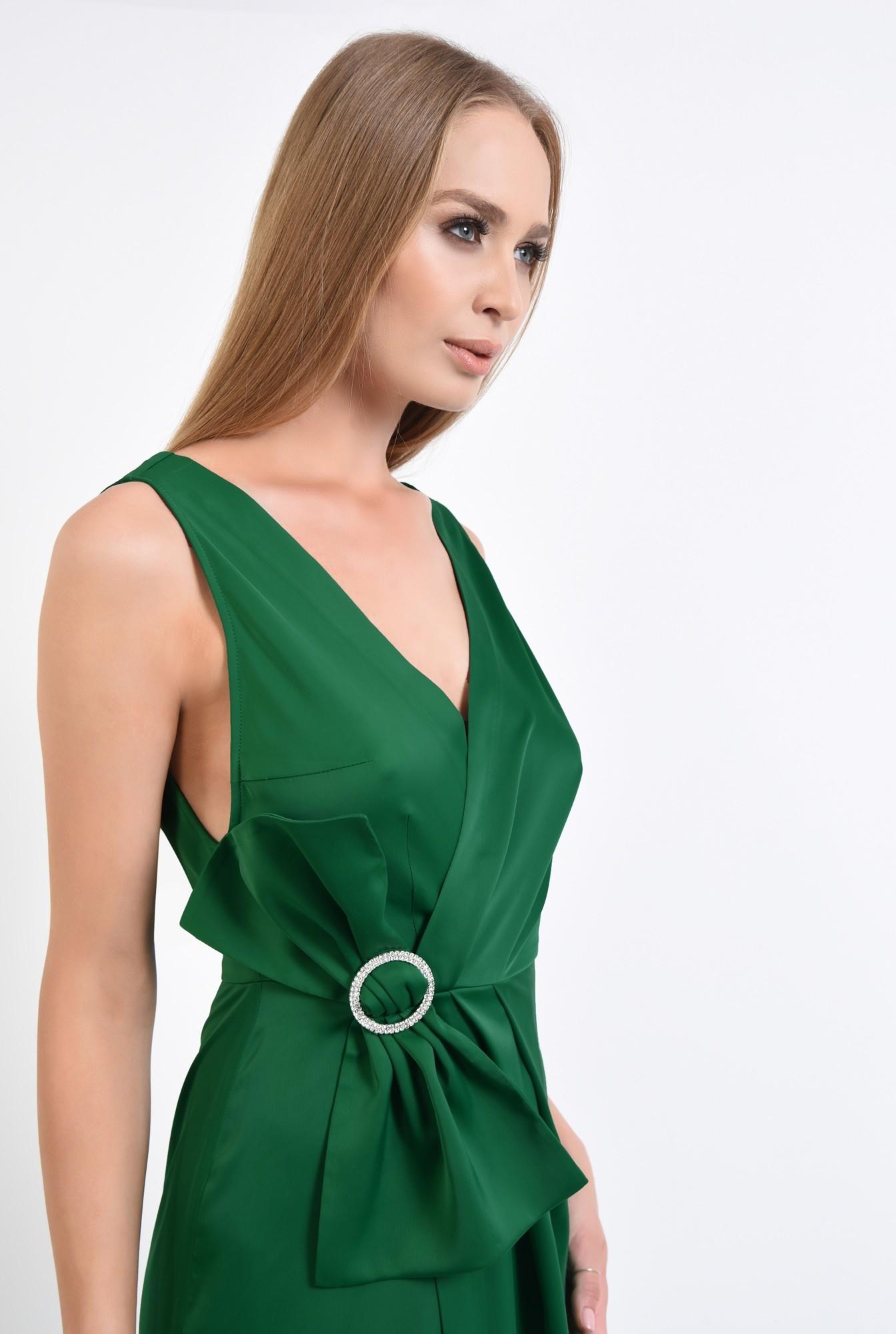 2 - rochie de ocazie, verde, satin, parte peste parte, funda supradimensionata