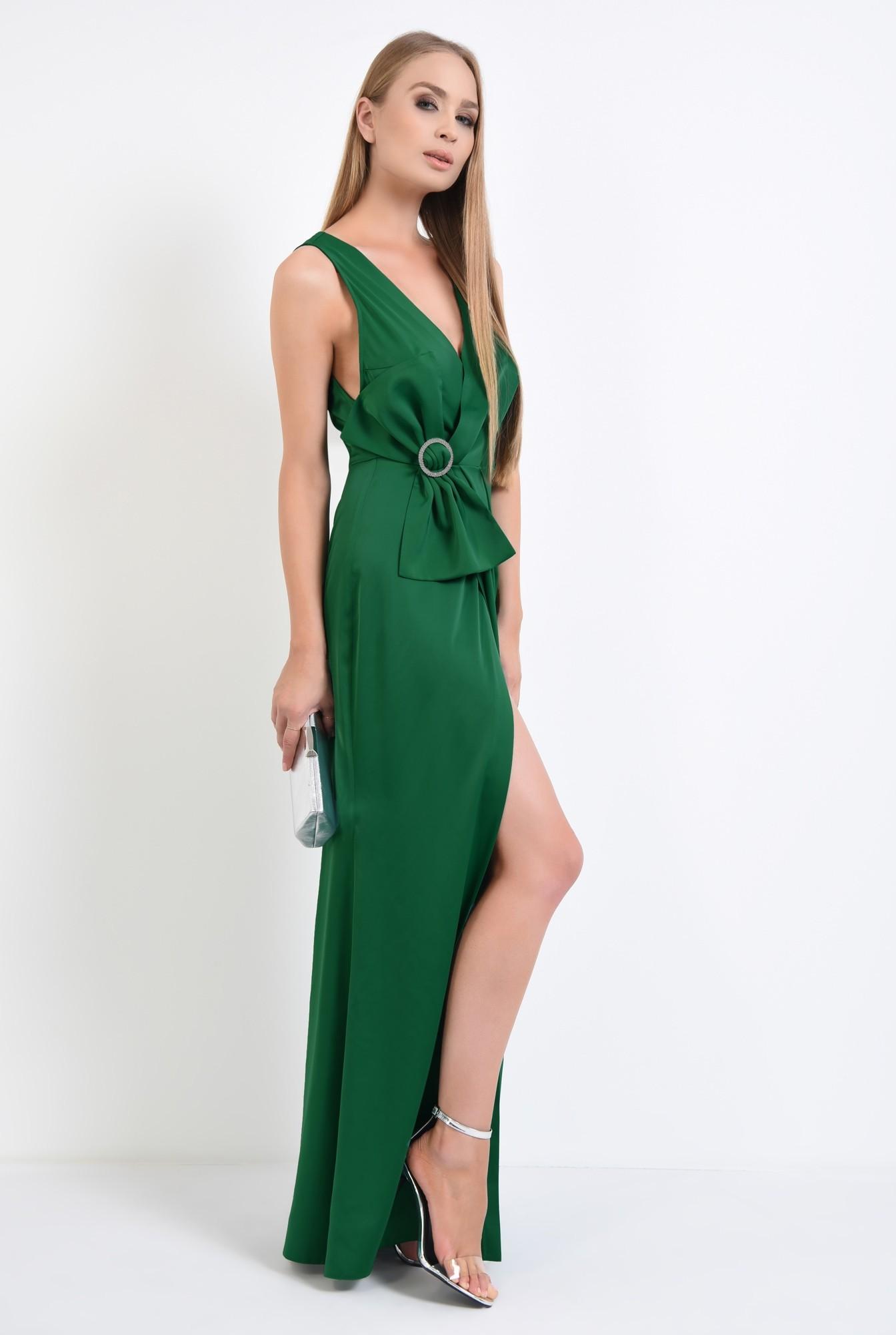 3 - rochie de ocazie, verde, satin, parte peste parte, funda supradimensionata