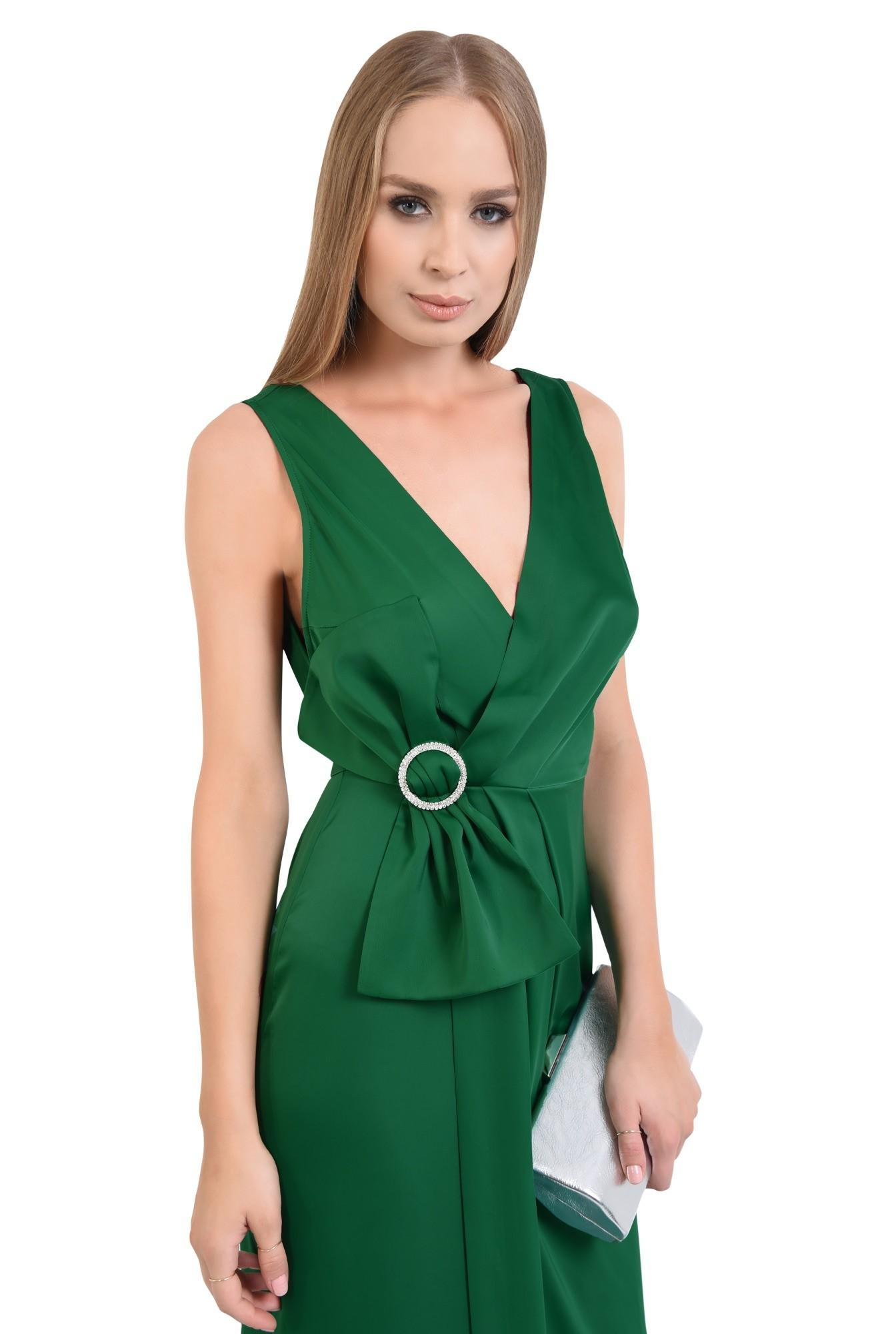 0 - rochie de ocazie, verde, satin, parte peste parte, funda supradimensionata