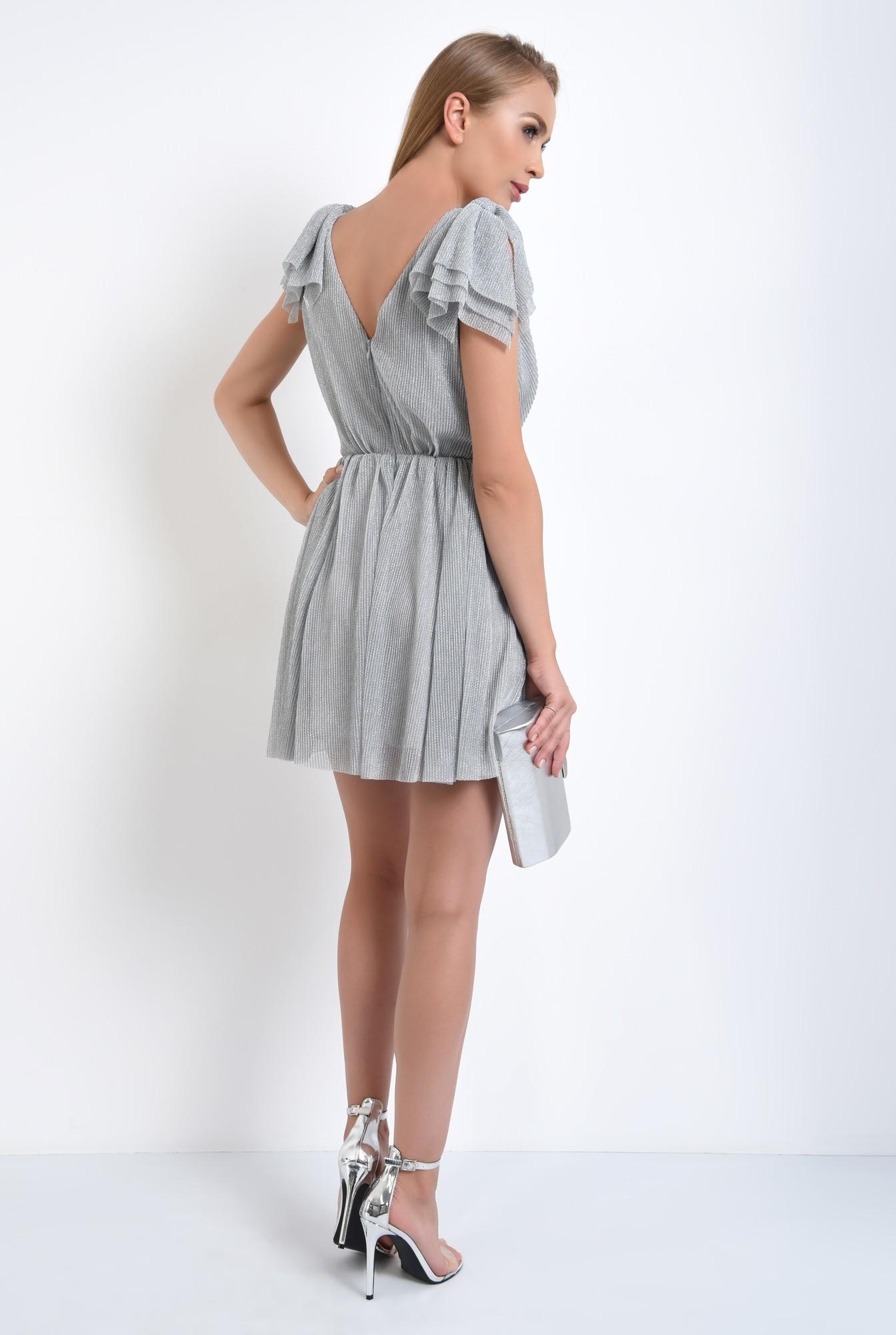 1 - rochie de ocazie, lurex, argintiu, funde la umeri, lungime mini