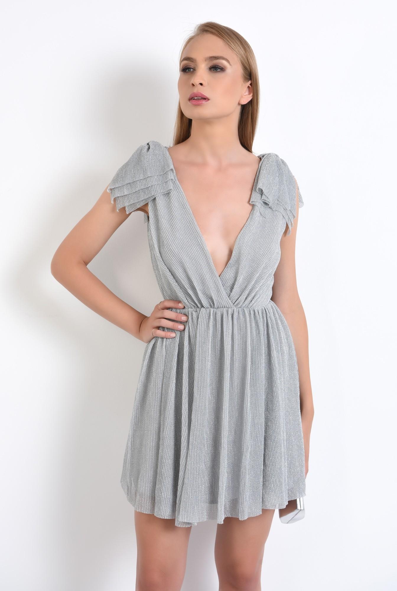 2 - rochie de ocazie, lurex, argintiu, funde la umeri, lungime mini