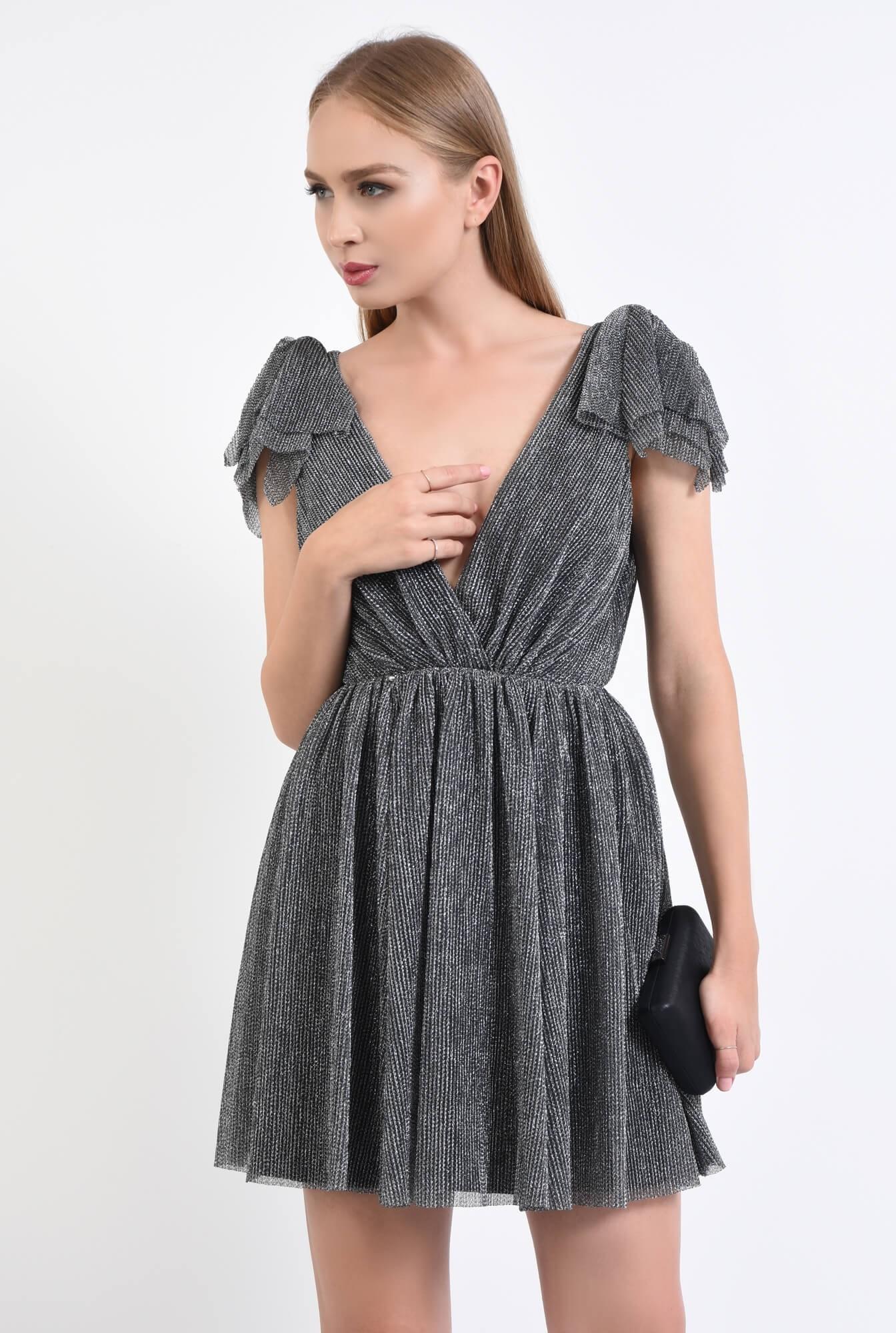 3 - rochie de ocazie, argintiu, negru, lurex, funde
