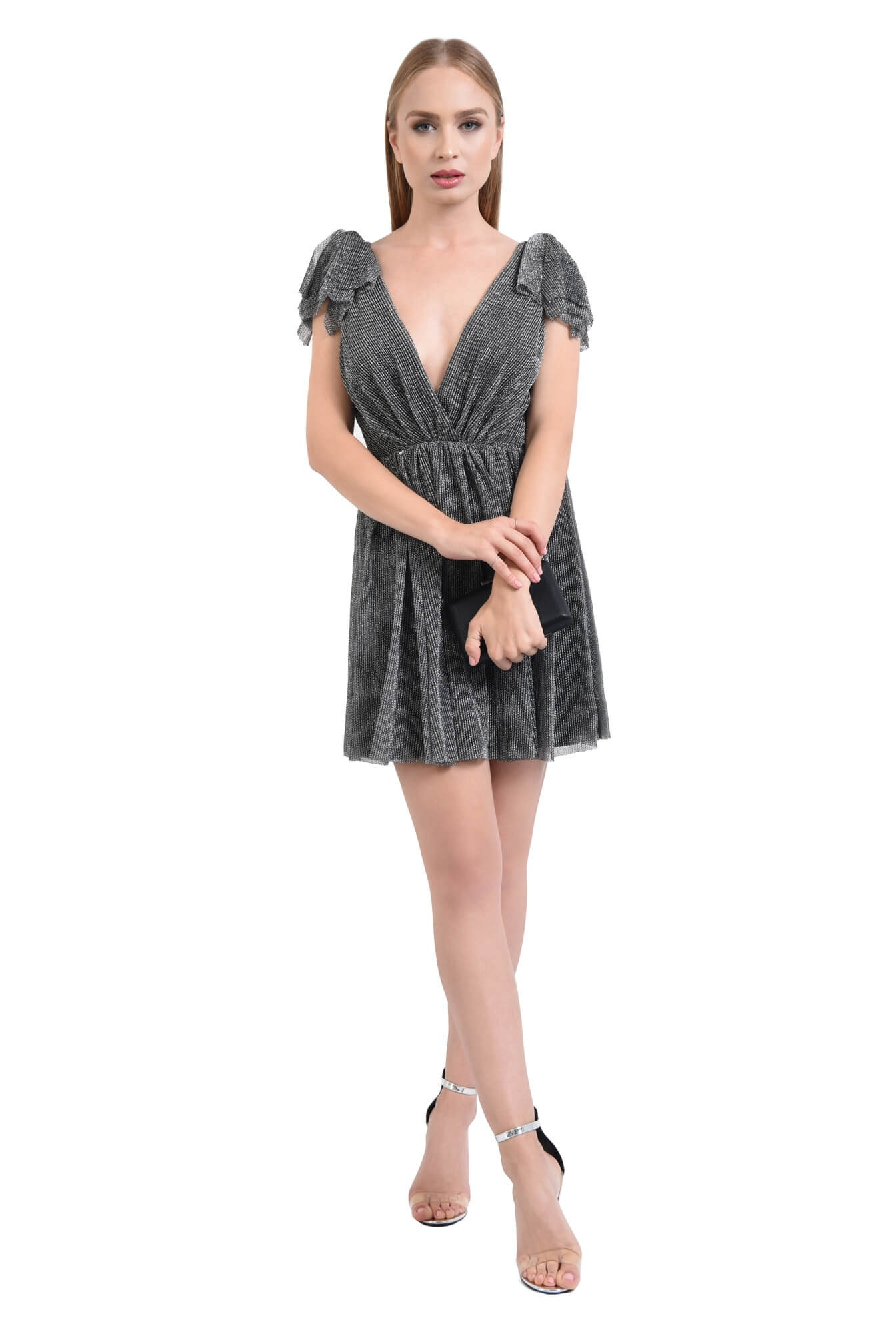 0 - rochie de ocazie, argintiu, negru, lurex, funde
