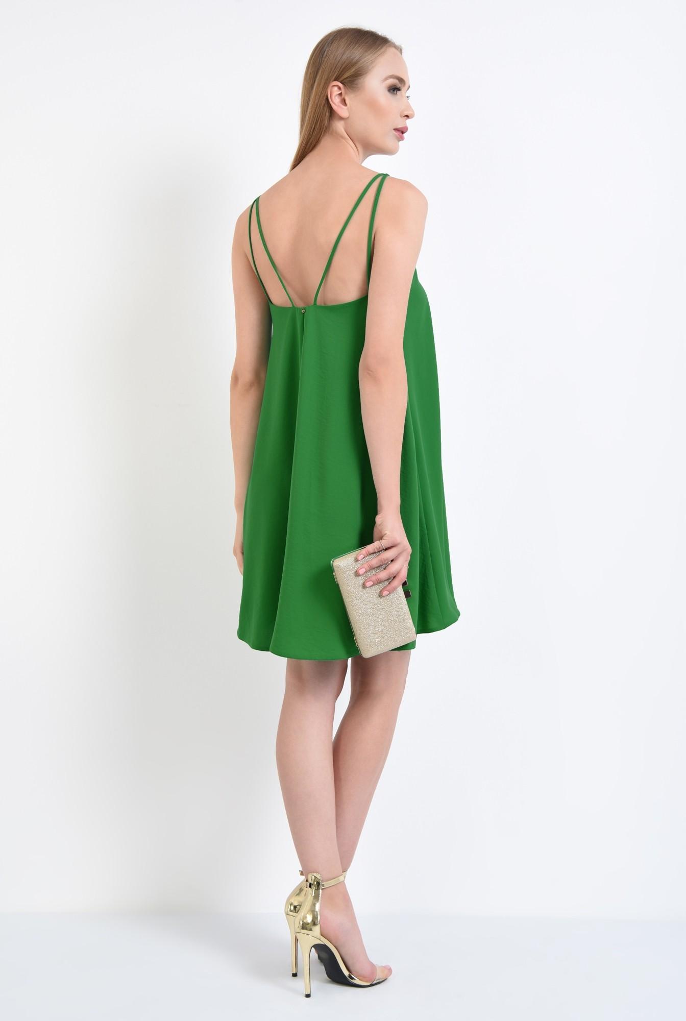 1 - rochie eleganta, scurta, bretele, verde