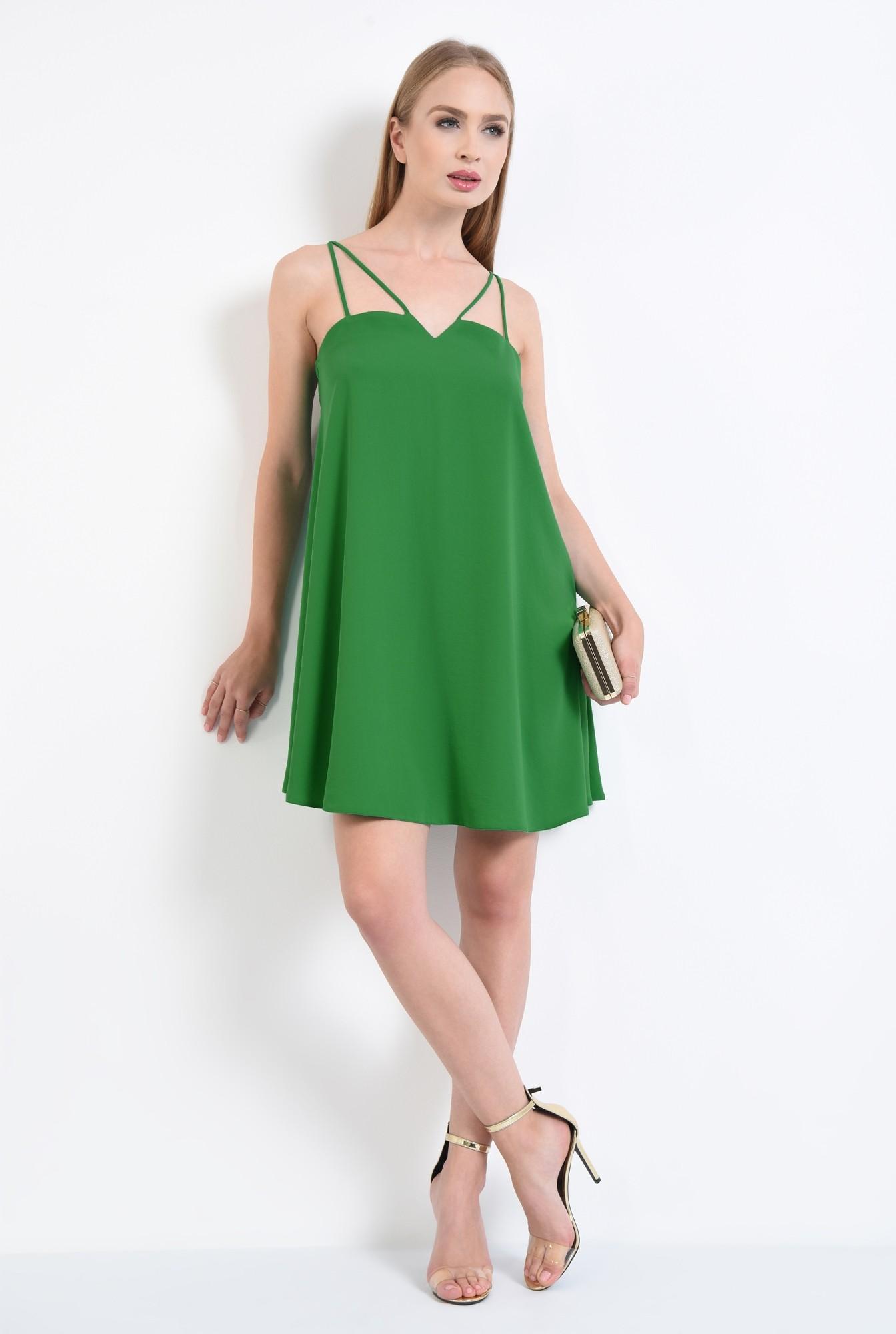 3 - rochie eleganta, scurta, bretele, verde