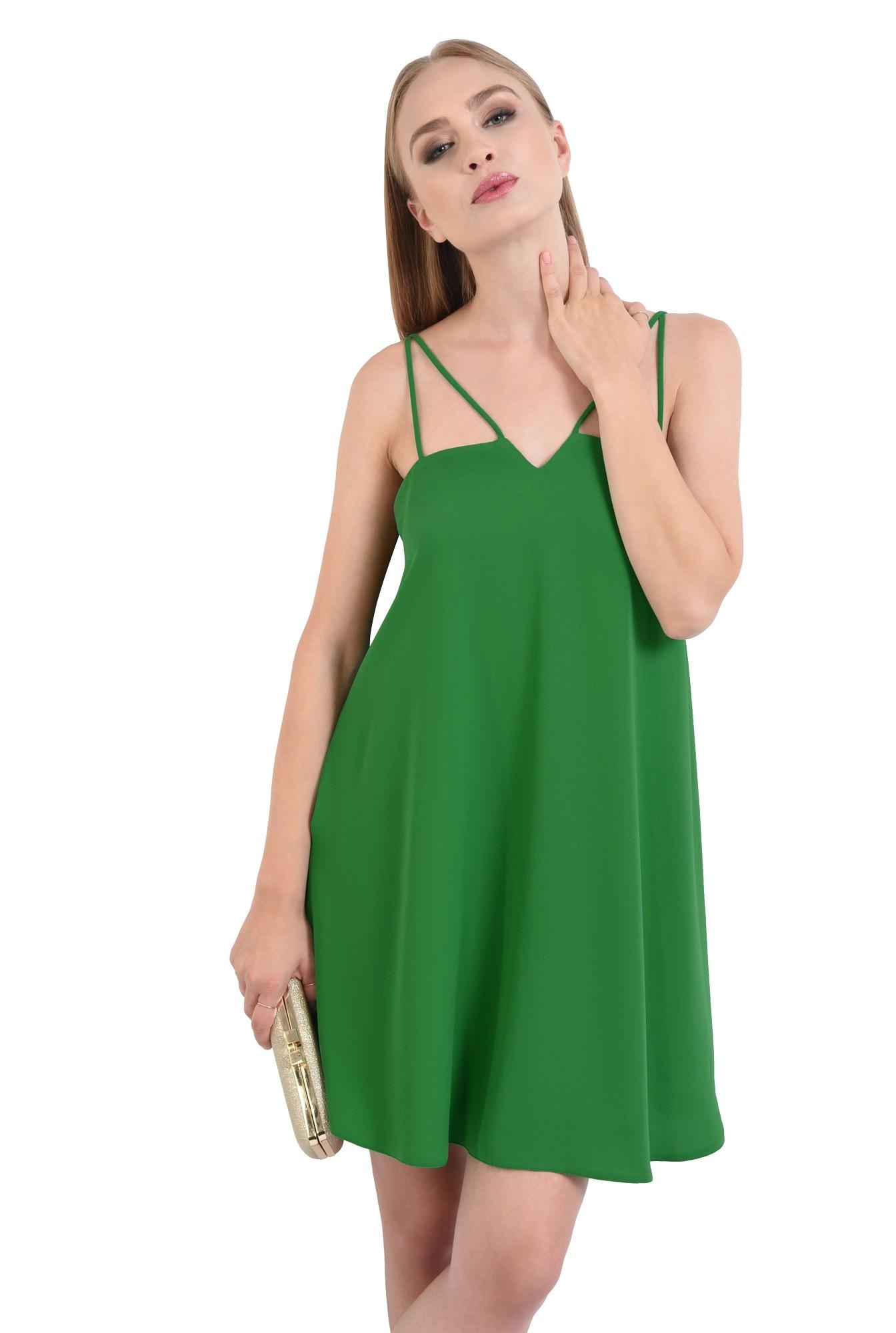 0 - rochie eleganta, scurta, bretele, verde