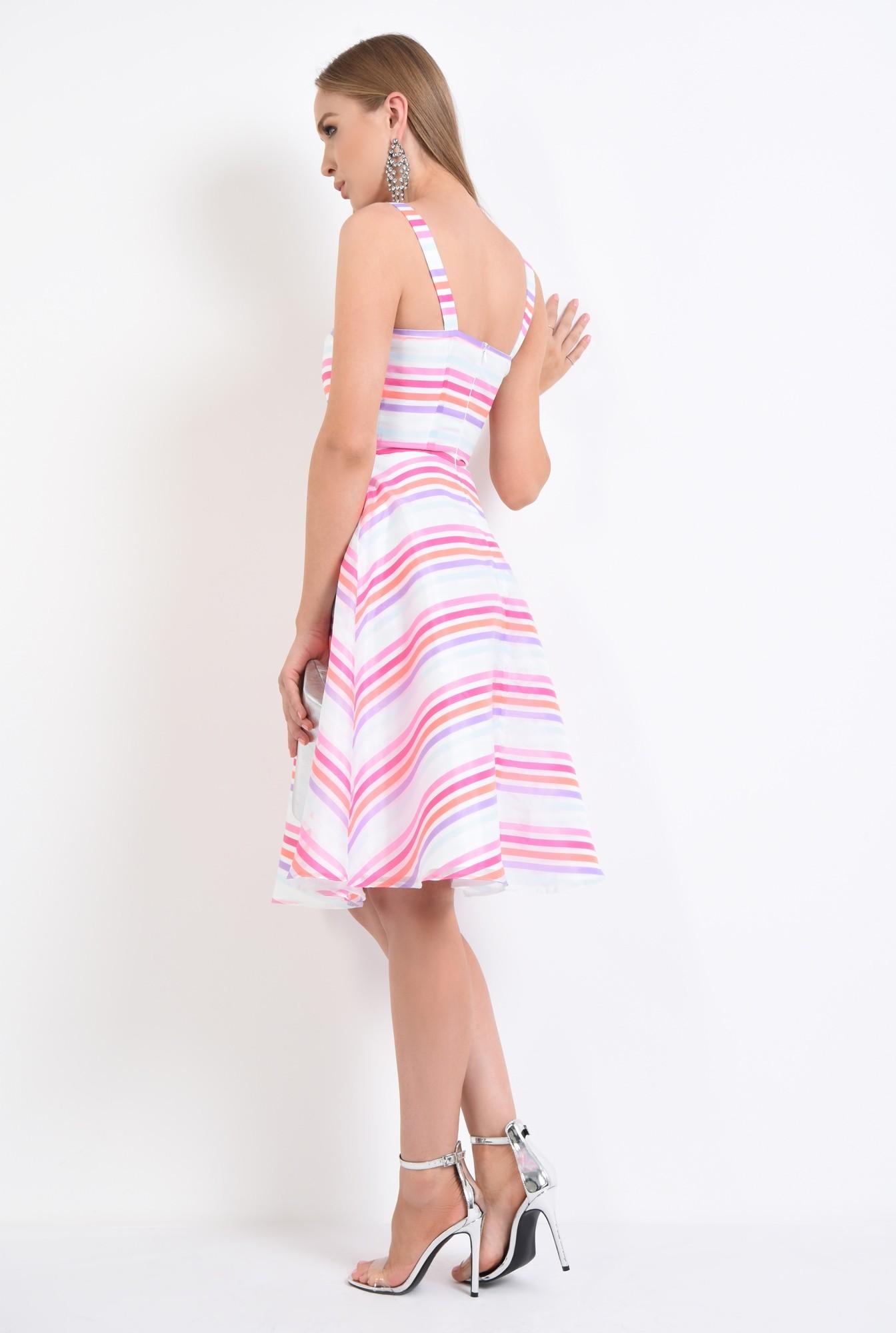 1 - rochie eleganta, tesatura satinata, imprimeu dungi, rochii de dama online