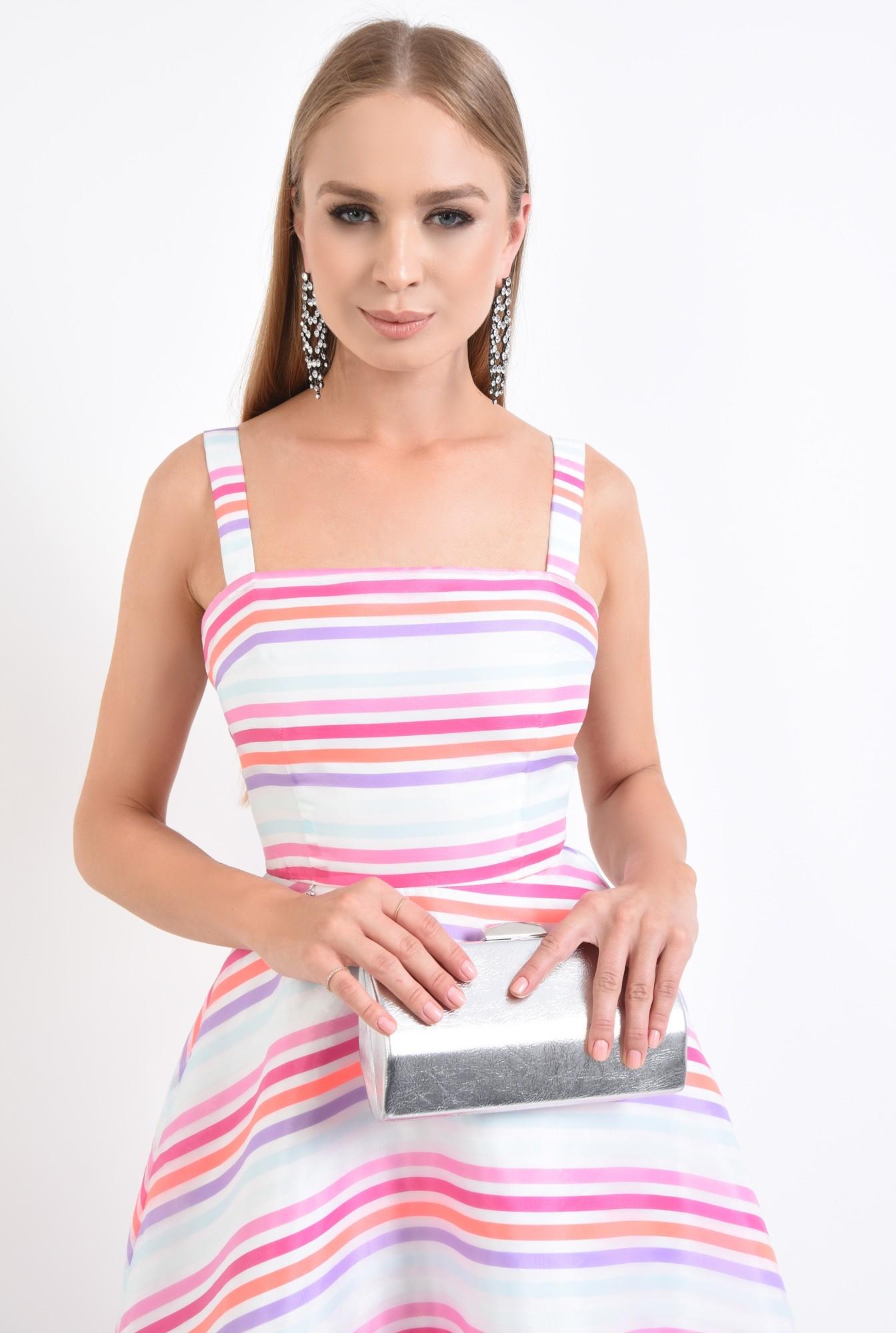 2 - rochie eleganta, tesatura satinata, imprimeu dungi, rochii de dama online