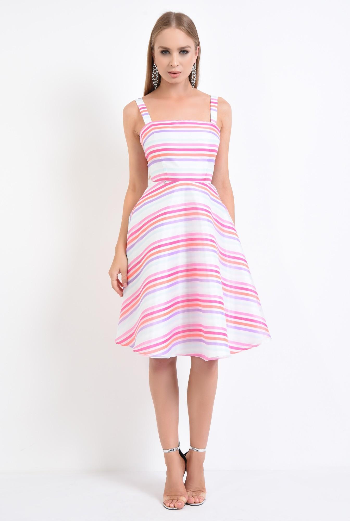 3 - rochie eleganta, tesatura satinata, imprimeu dungi, rochii de dama online