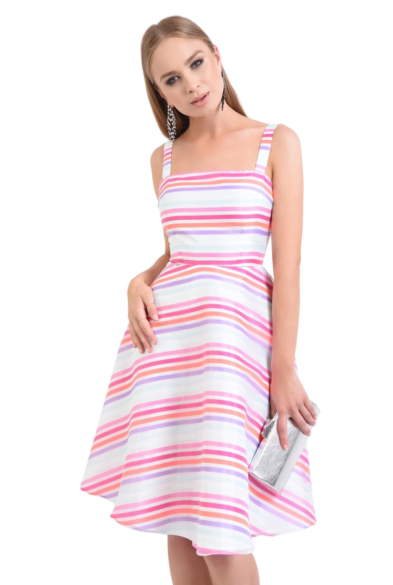 0 - rochie eleganta, tesatura satinata, imprimeu dungi, rochii de dama online