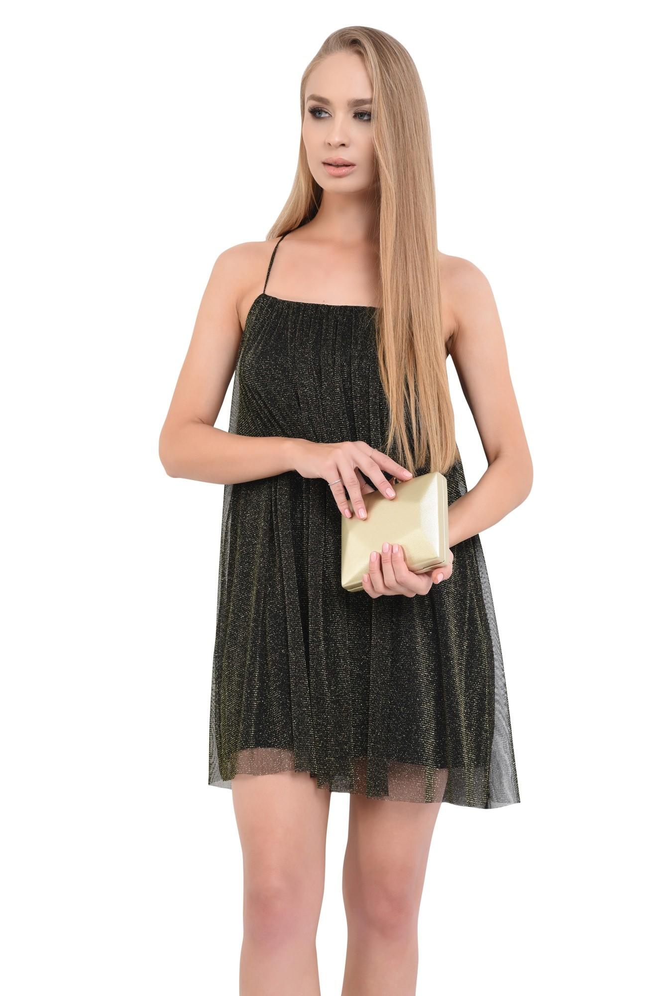 0 - rochie eleganta, negru, bretele subtiri, mini