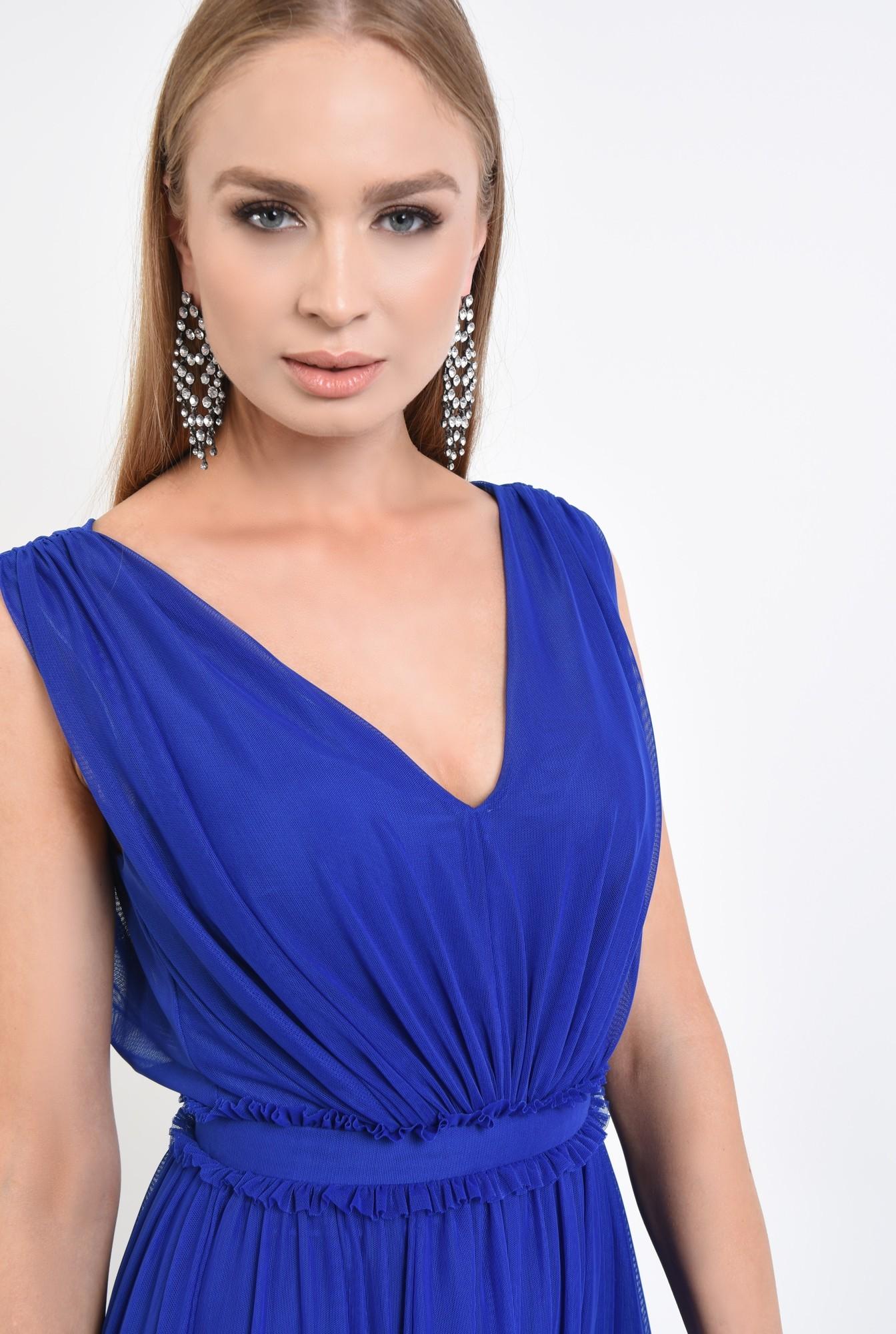 2 - 360 - rochie de seara, tul, albastru, clos, midi, rochii online