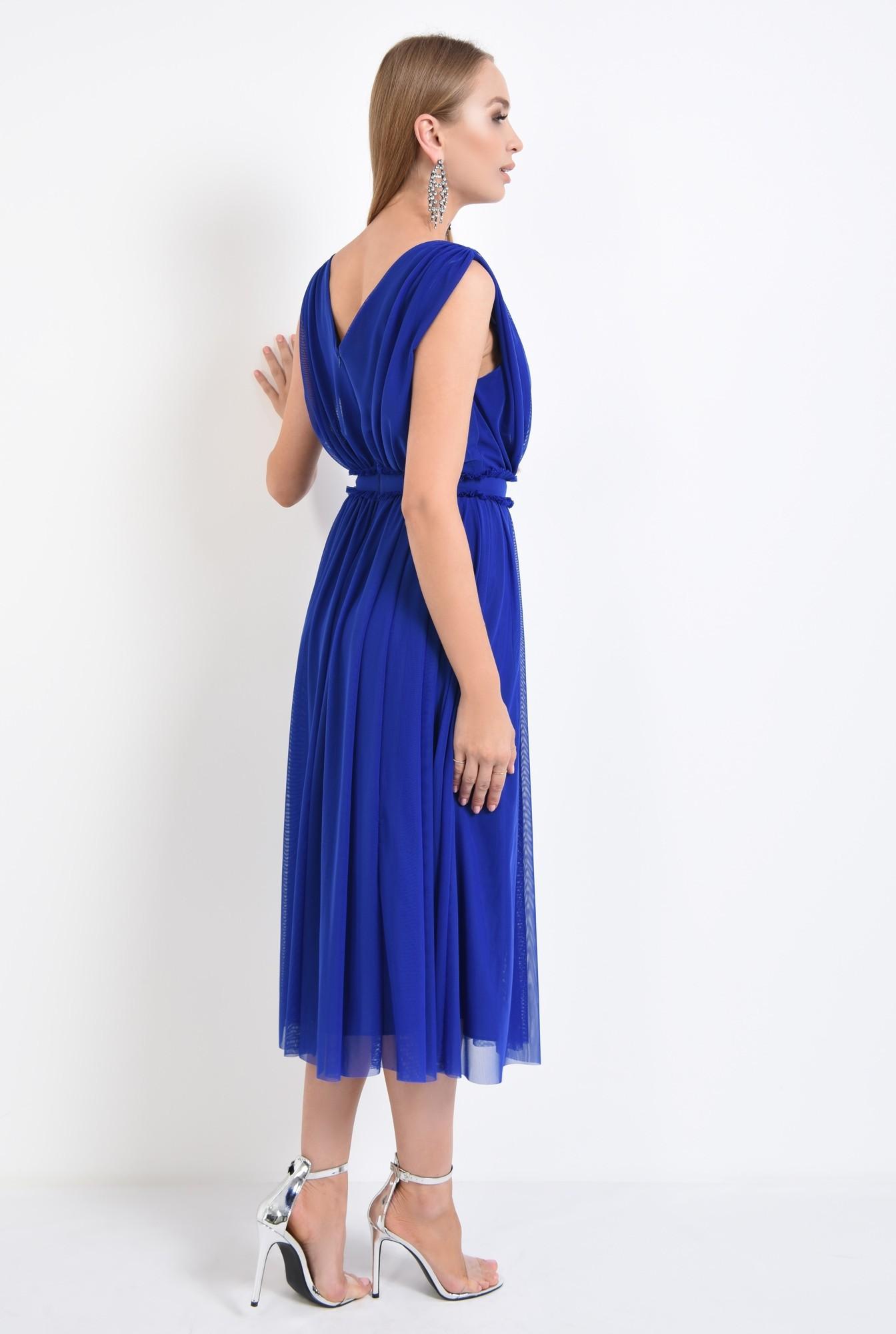 1 - 360 - rochie de seara, tul, albastru, clos, midi, rochii online
