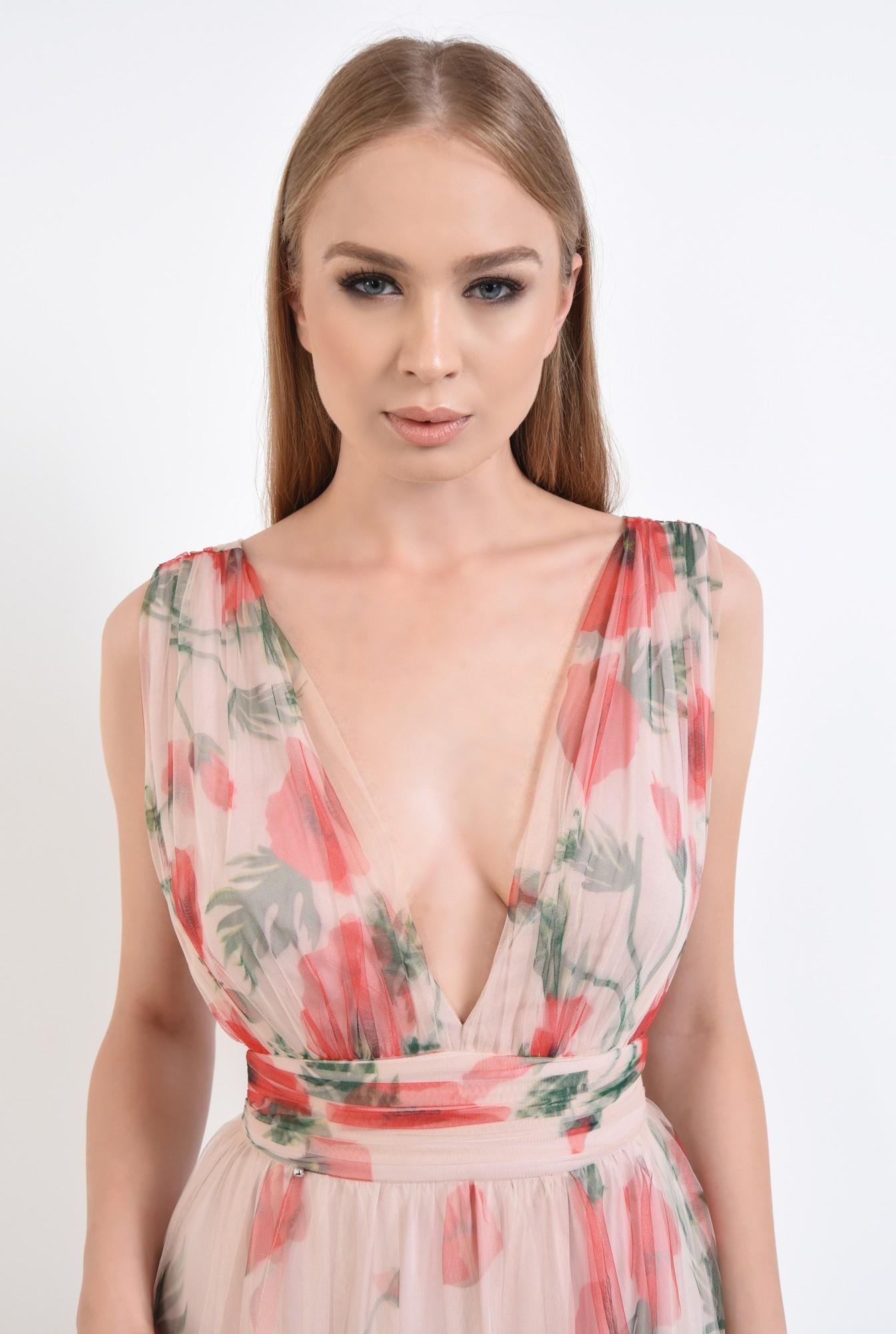 2 - rochie de seara, lunga, din tul, imprimeu floral