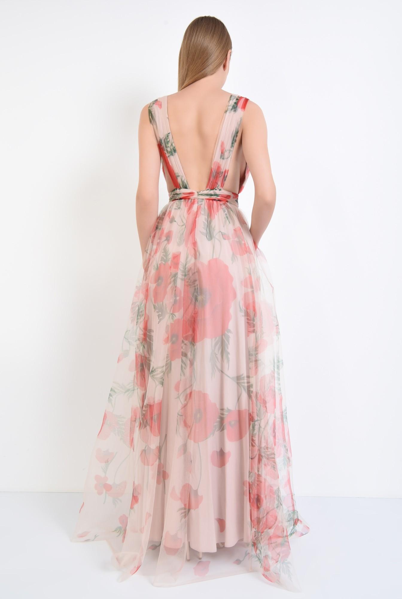 1 - rochie de seara, lunga, din tul, imprimeu floral