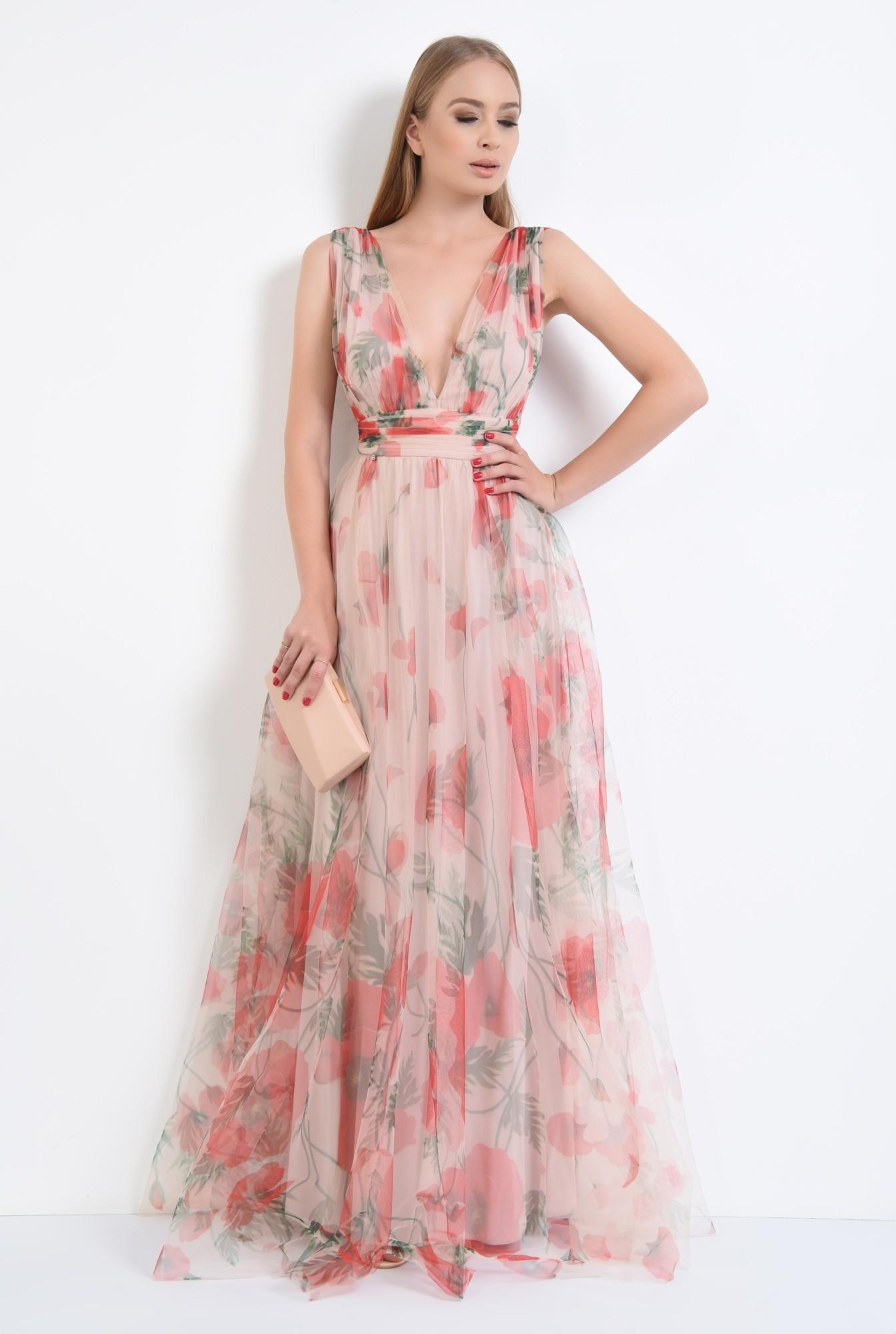 3 - rochie de seara, lunga, din tul, imprimeu floral