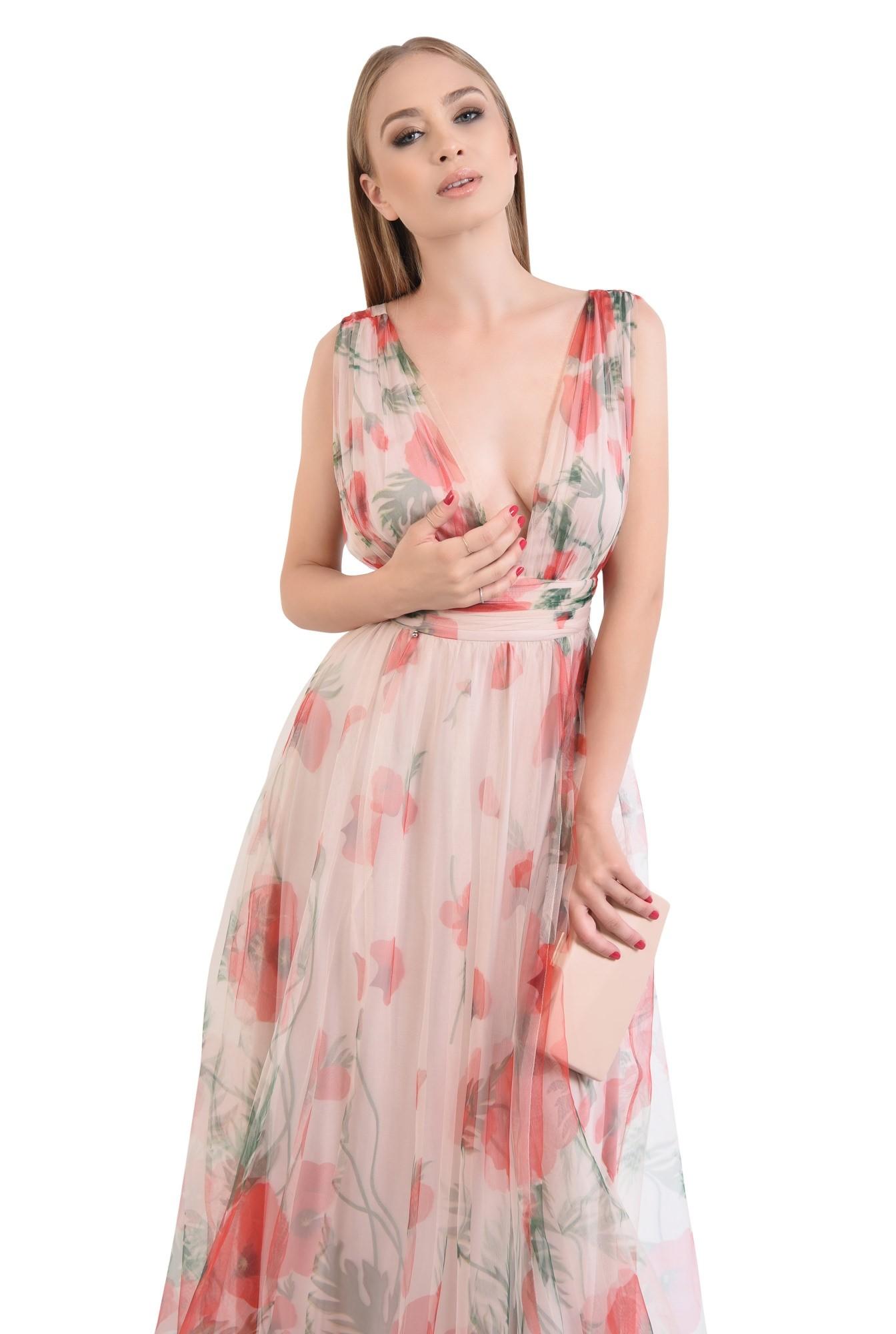 0 - rochie de seara, lunga, din tul, imprimeu floral