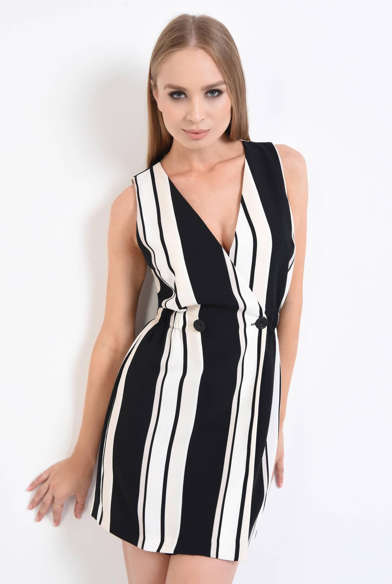 3 - rochie eleganta, cu imprimeu, dungi, alb-negru, scurta, rochie de ocazie