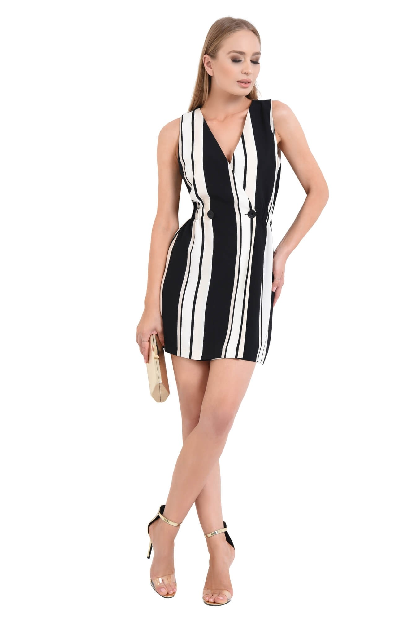 0 - rochie eleganta, cu imprimeu, dungi, alb-negru, scurta, rochie de ocazie