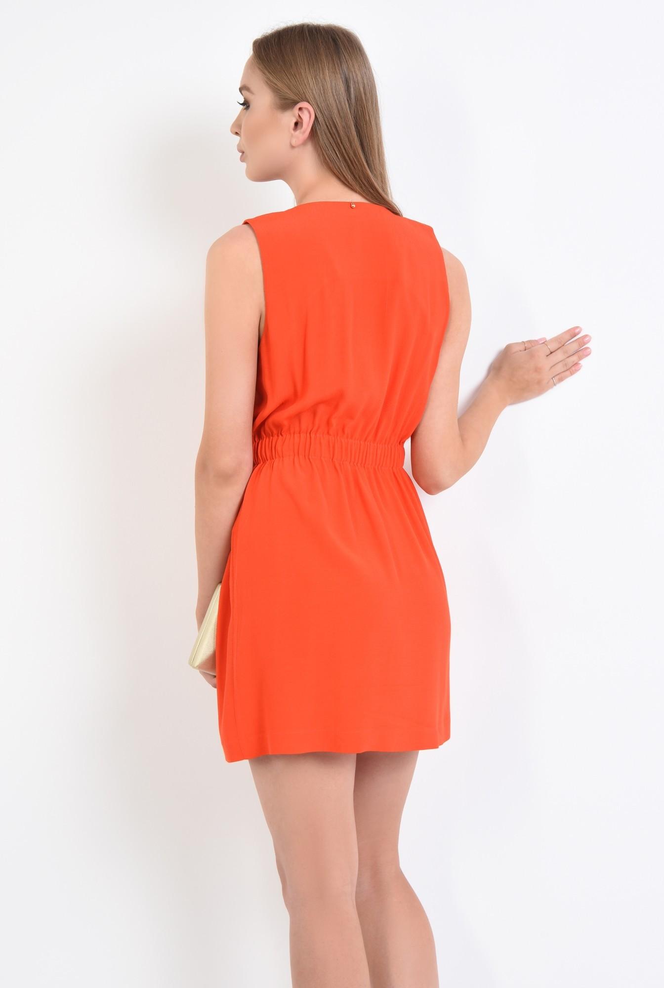 1 - rochie eleganta, corai, petrecuta, nasturi, decolteu, anchior, scurta