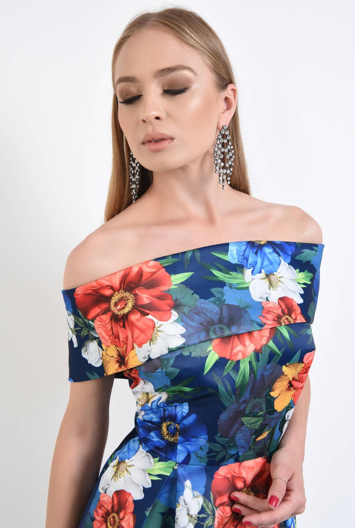 2 - rochie eleganta, scurta, cu pliuri, imprimeu, floral