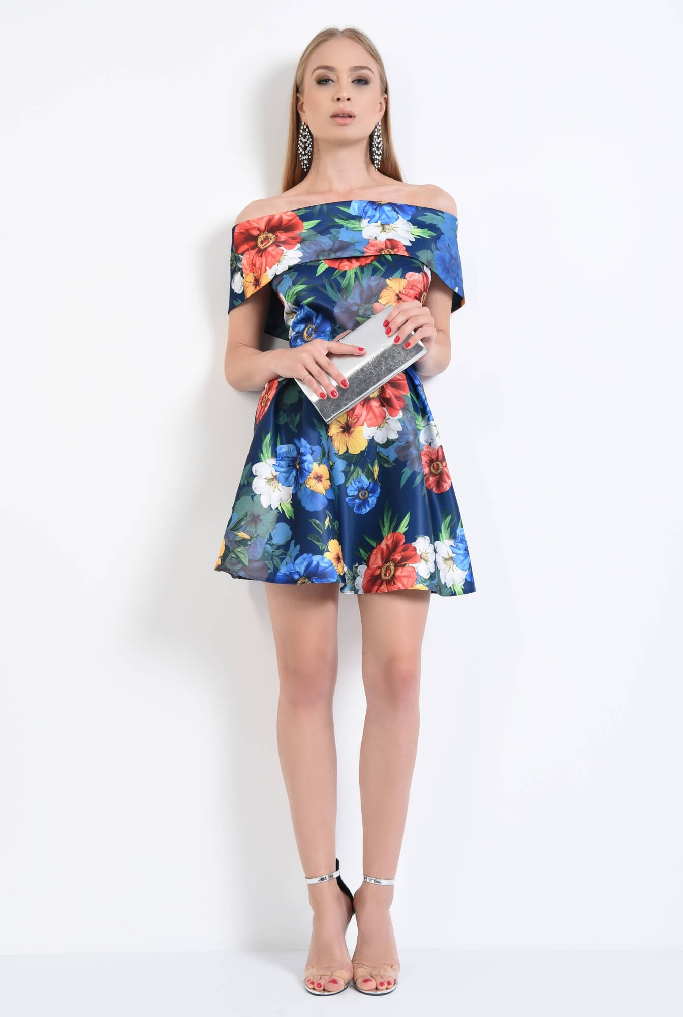 3 - rochie eleganta, scurta, cu pliuri, imprimeu, floral