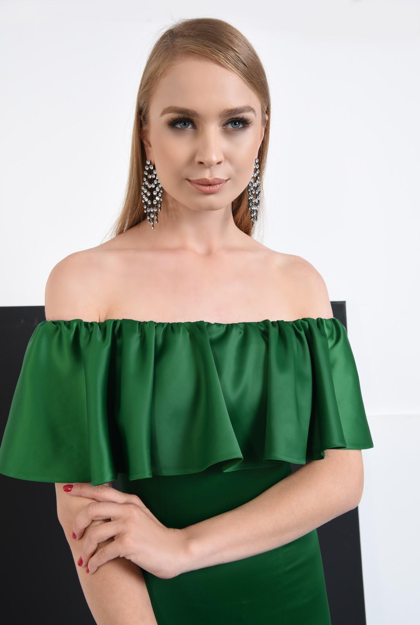1 - rochie de seara smarald, slit adanc, umeri dezgoliti, maxi