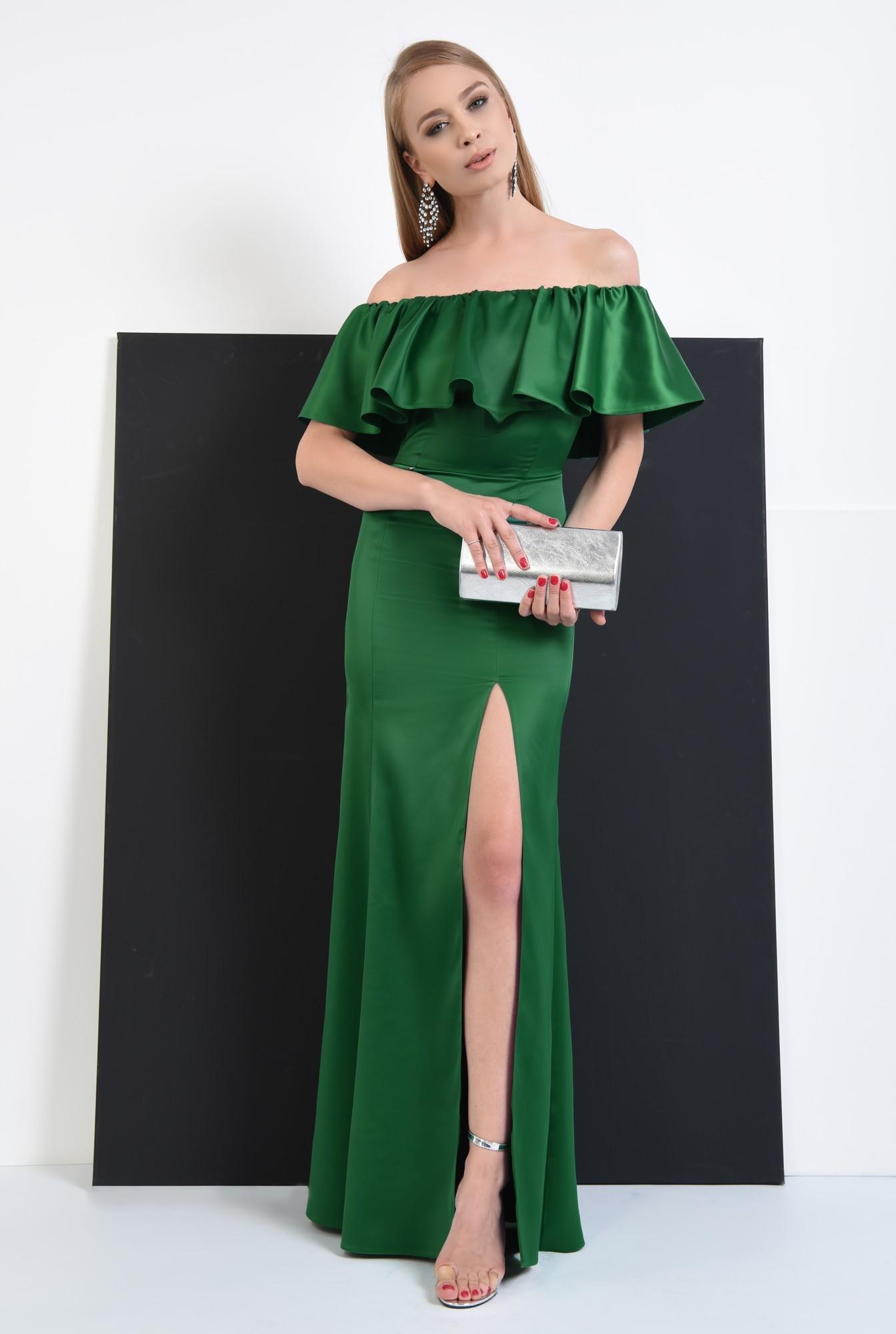 2 - rochie de seara smarald, slit adanc, umeri dezgoliti, maxi