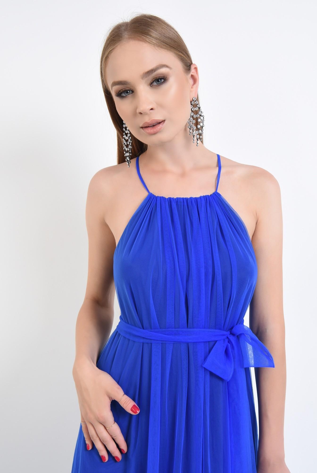 2 - rochie de ocazie, tul, lunga, albastru