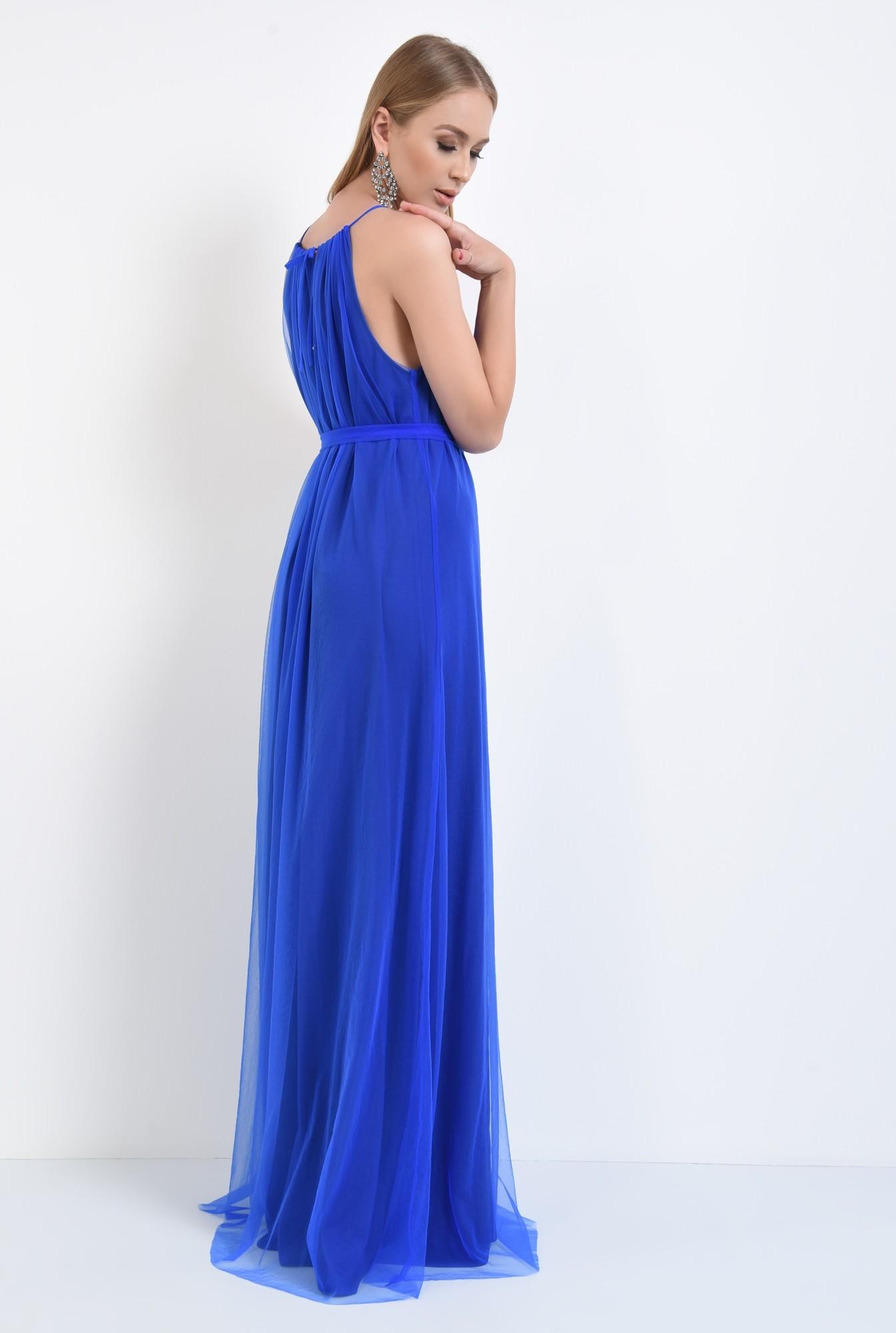 1 - rochie de ocazie, tul, lunga, albastru