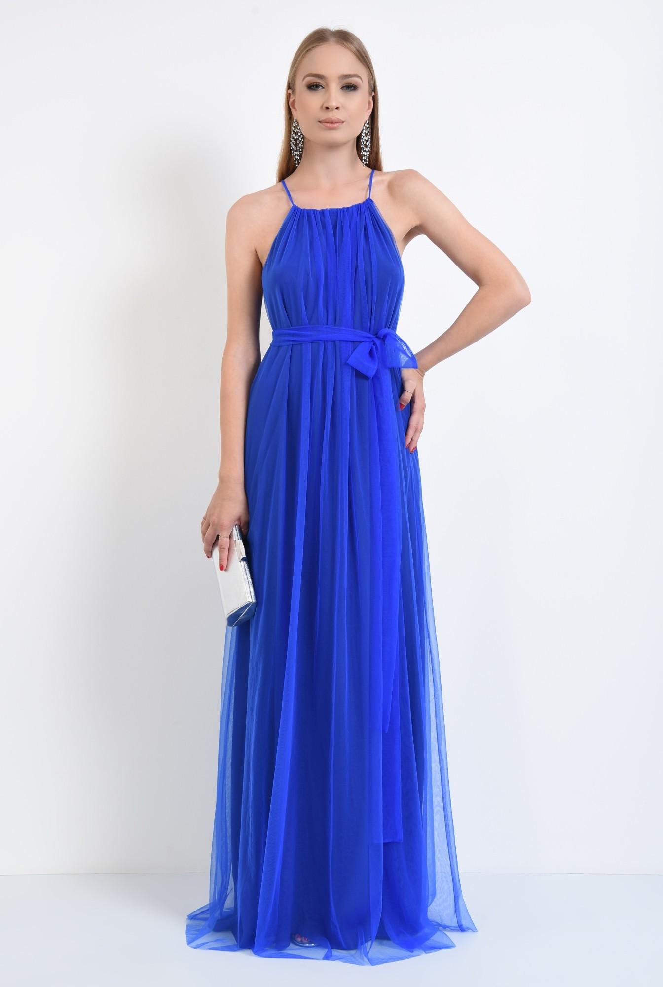 3 - rochie de ocazie, tul, lunga, albastru