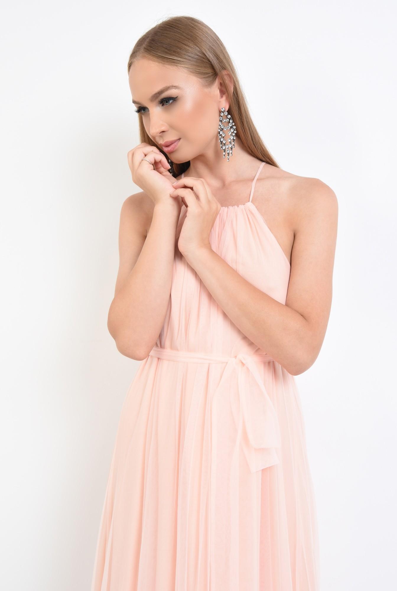 2 - rochie de ocazie, lunga, din tul, roz piersica, croi larg