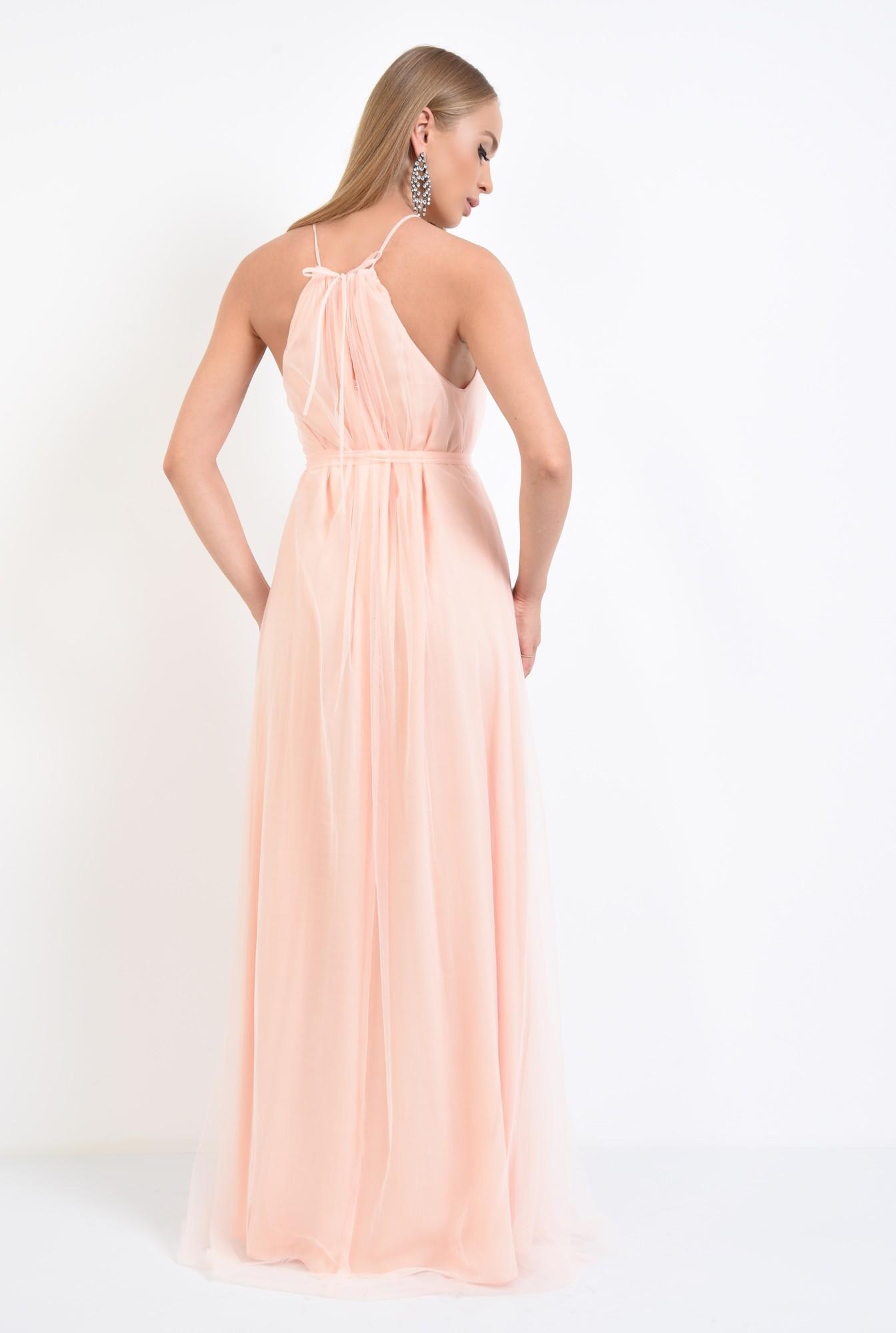 1 - rochie de ocazie, lunga, din tul, roz piersica, croi larg