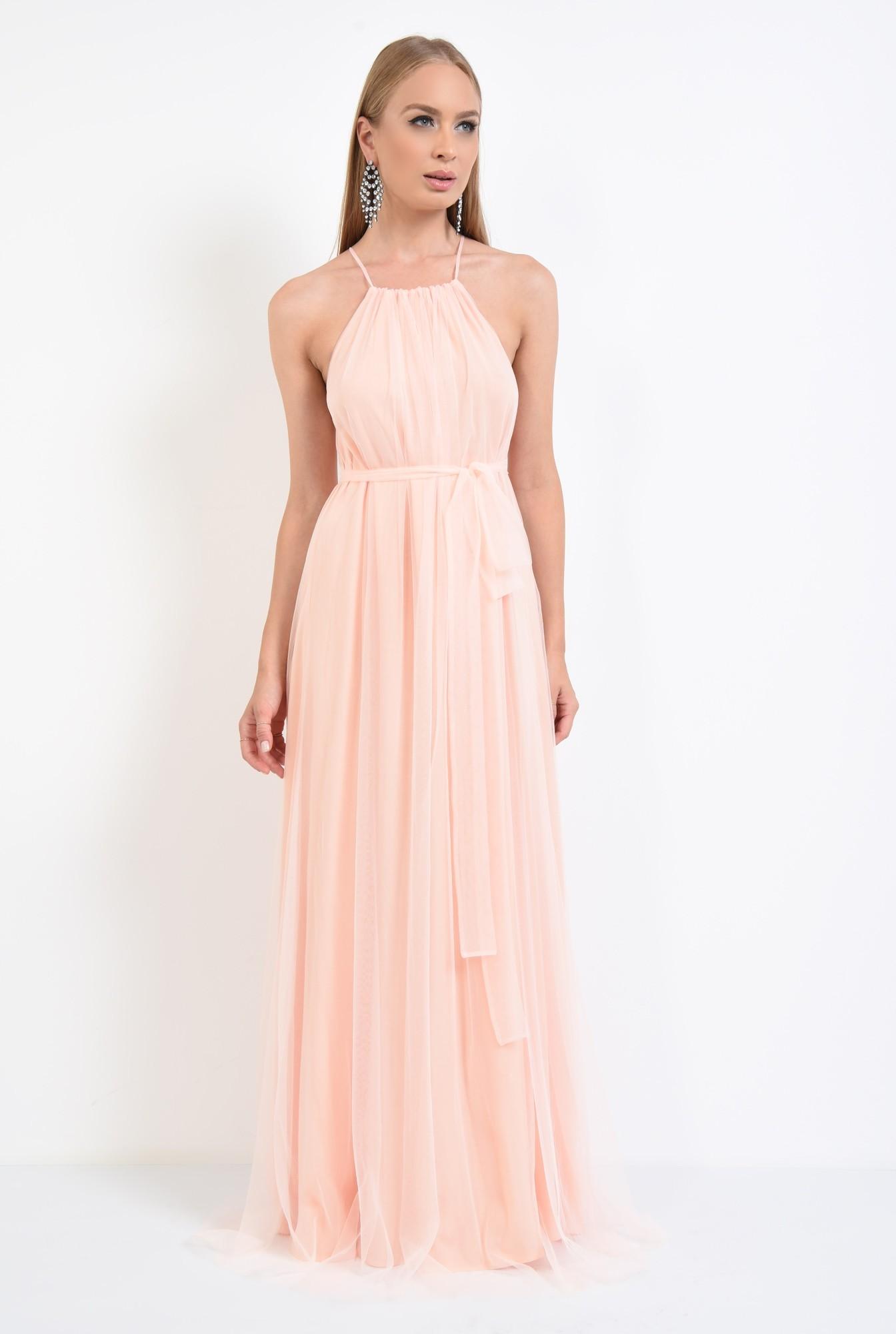 3 - rochie de ocazie, lunga, din tul, roz piersica, croi larg