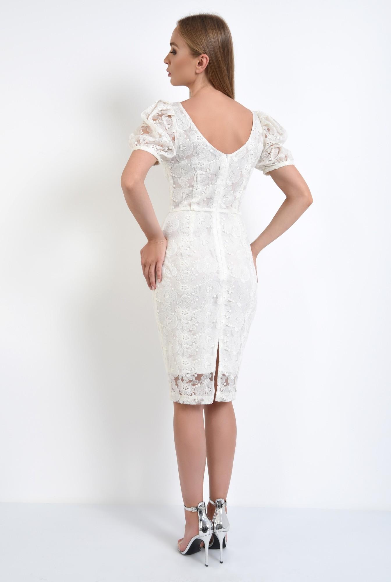 1 - rochie de seara, dantela, alb, conica