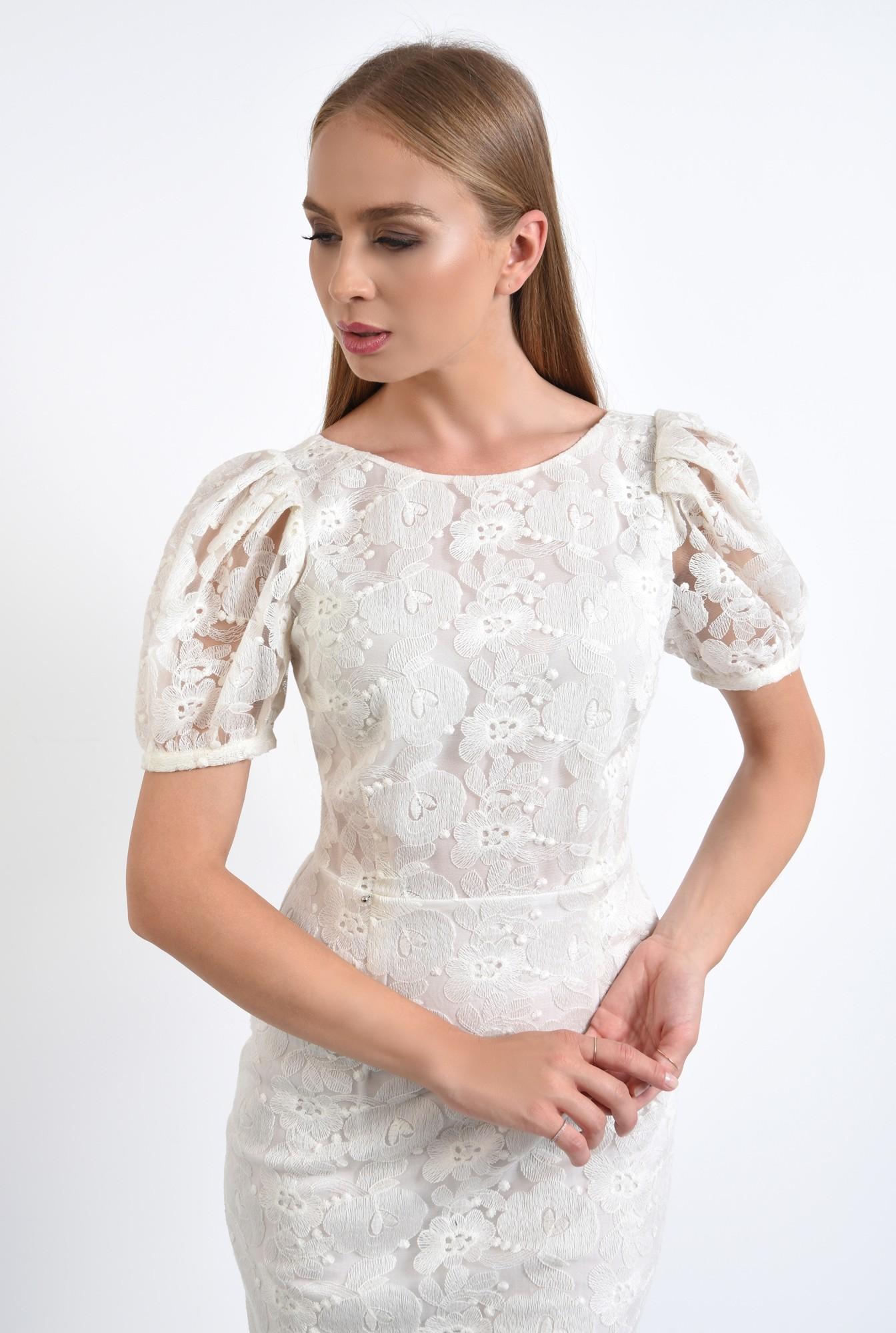 2 - rochie de seara, dantela, alb, conica