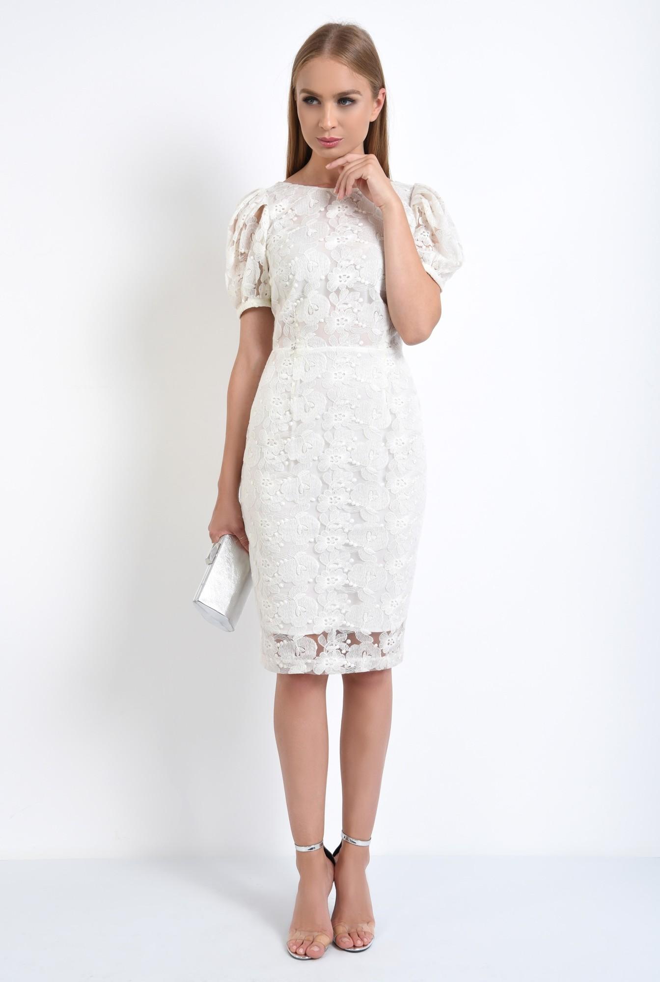 3 - rochie de seara, dantela, alb, conica