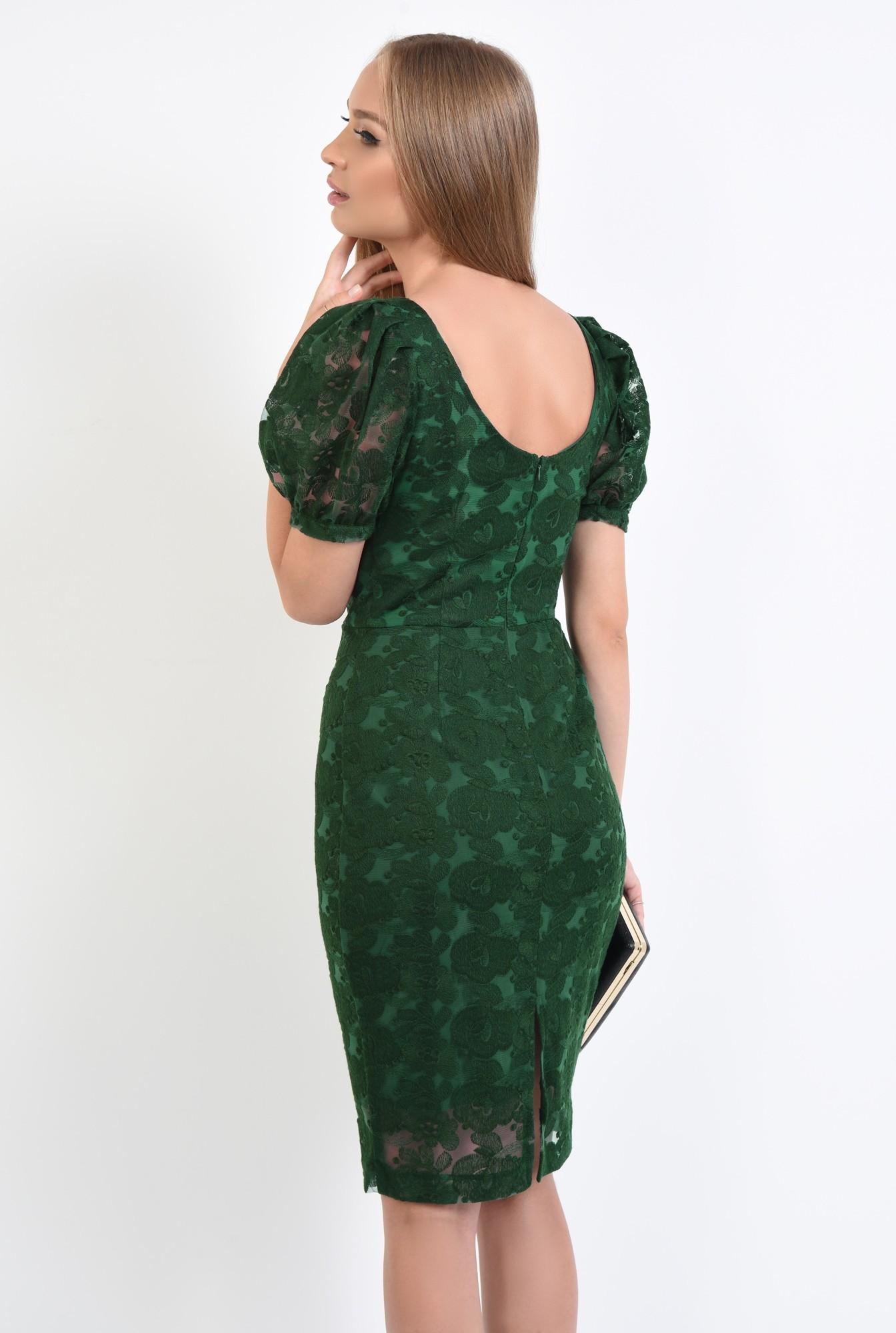 1 - rochie de seara, dantela, verde smarald, midi