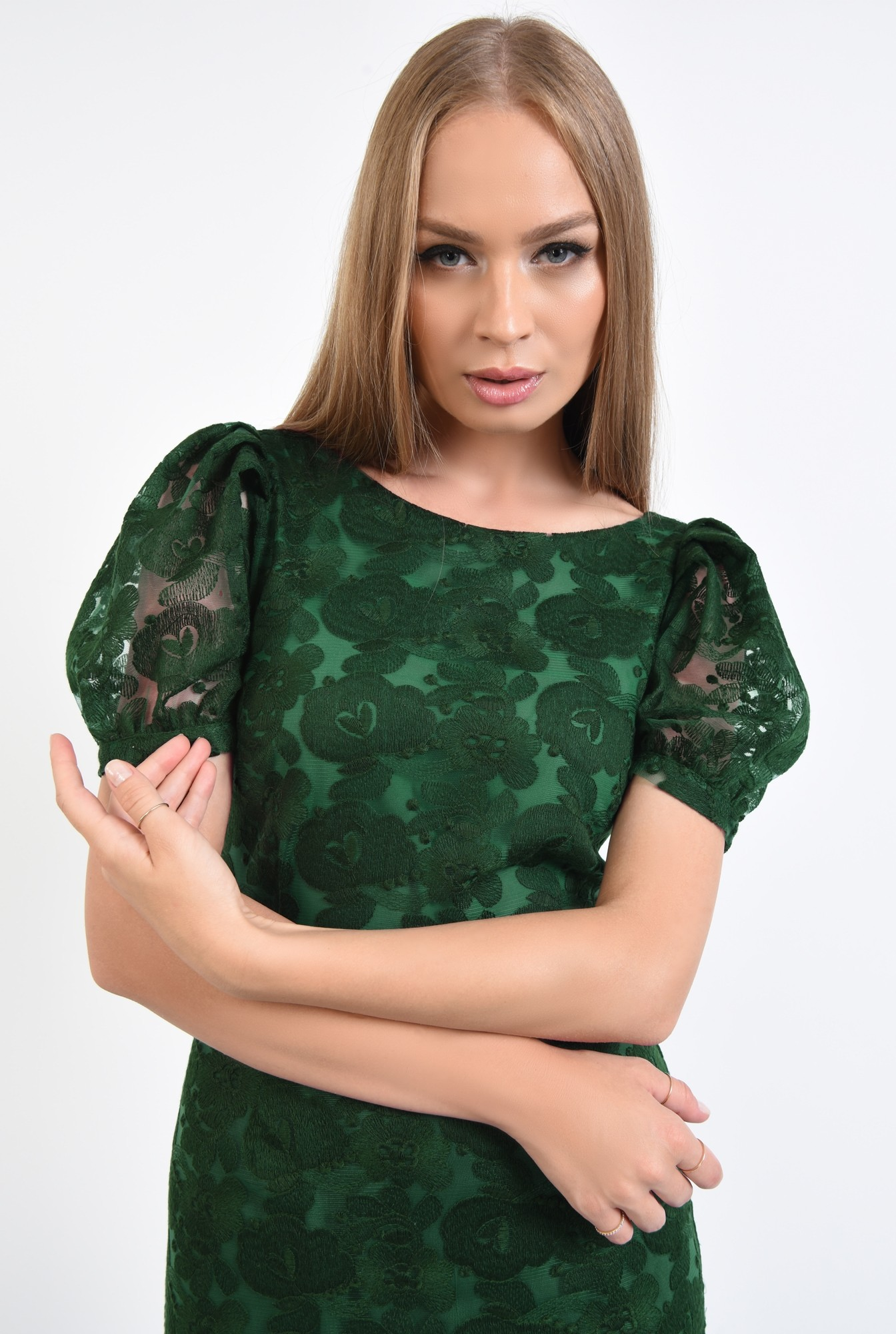 2 - rochie de seara, dantela, verde smarald, midi