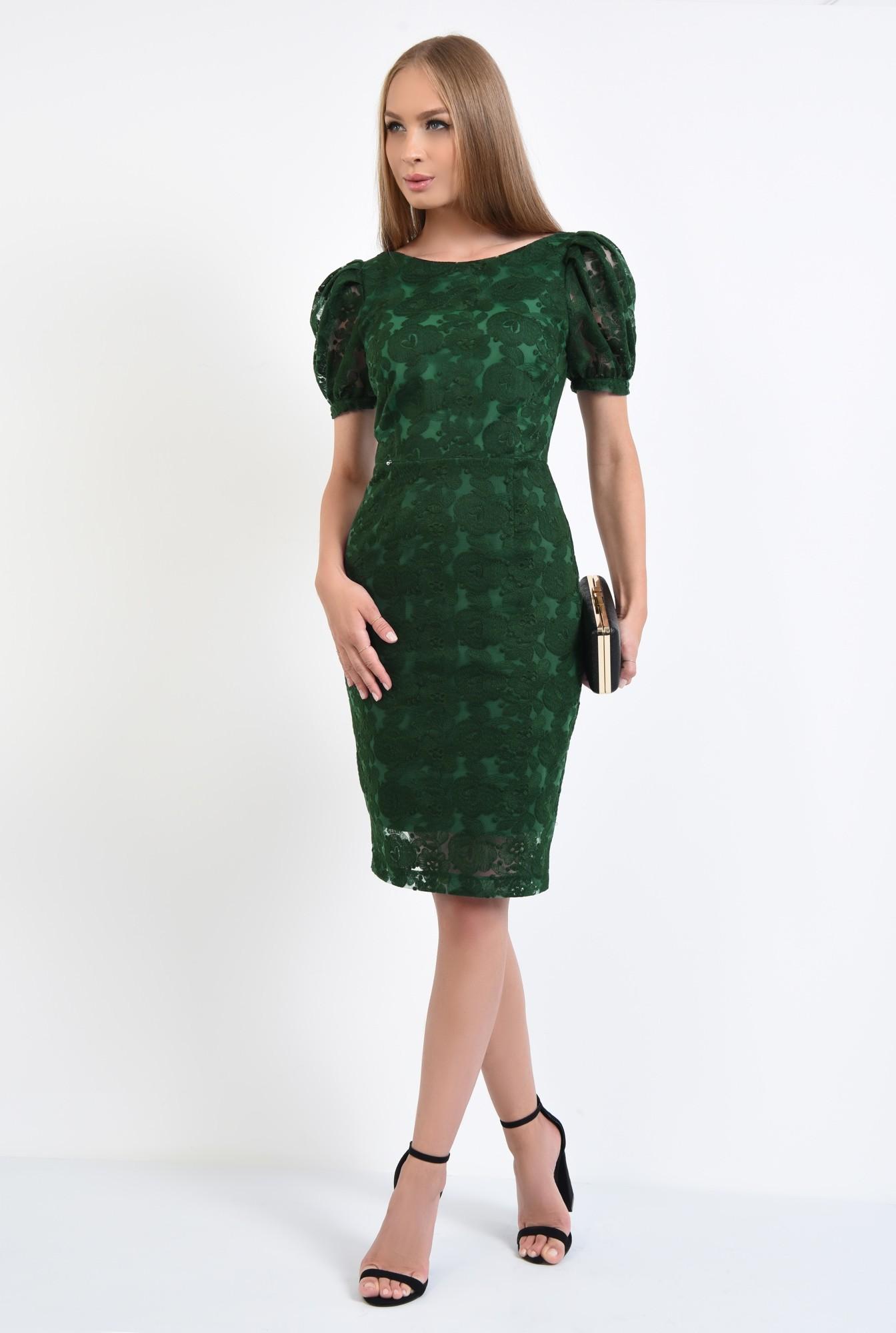 3 - rochie de seara, dantela, verde smarald, midi