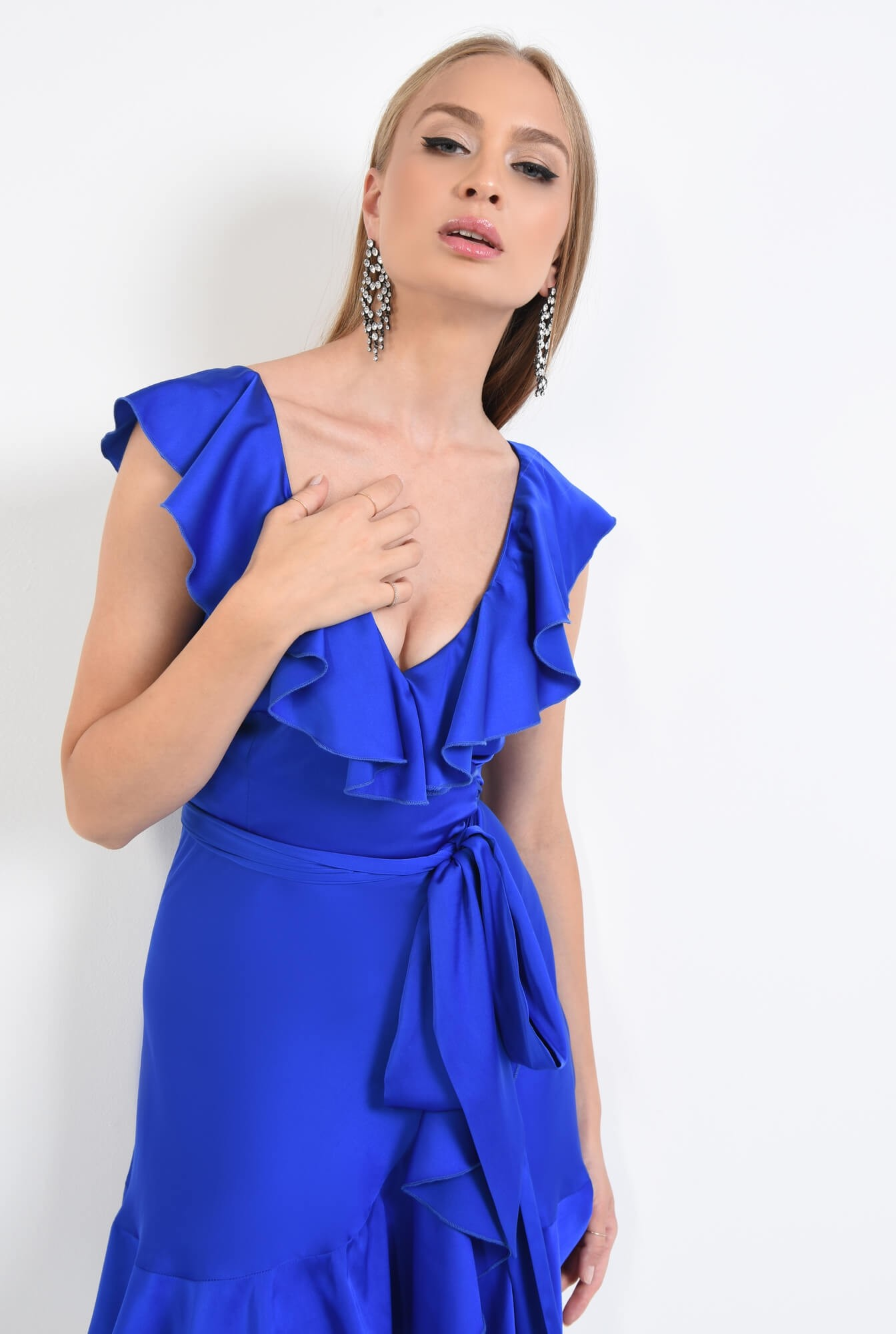 2 - rochie de seara, scurta, albastru, electric, volane, cordon