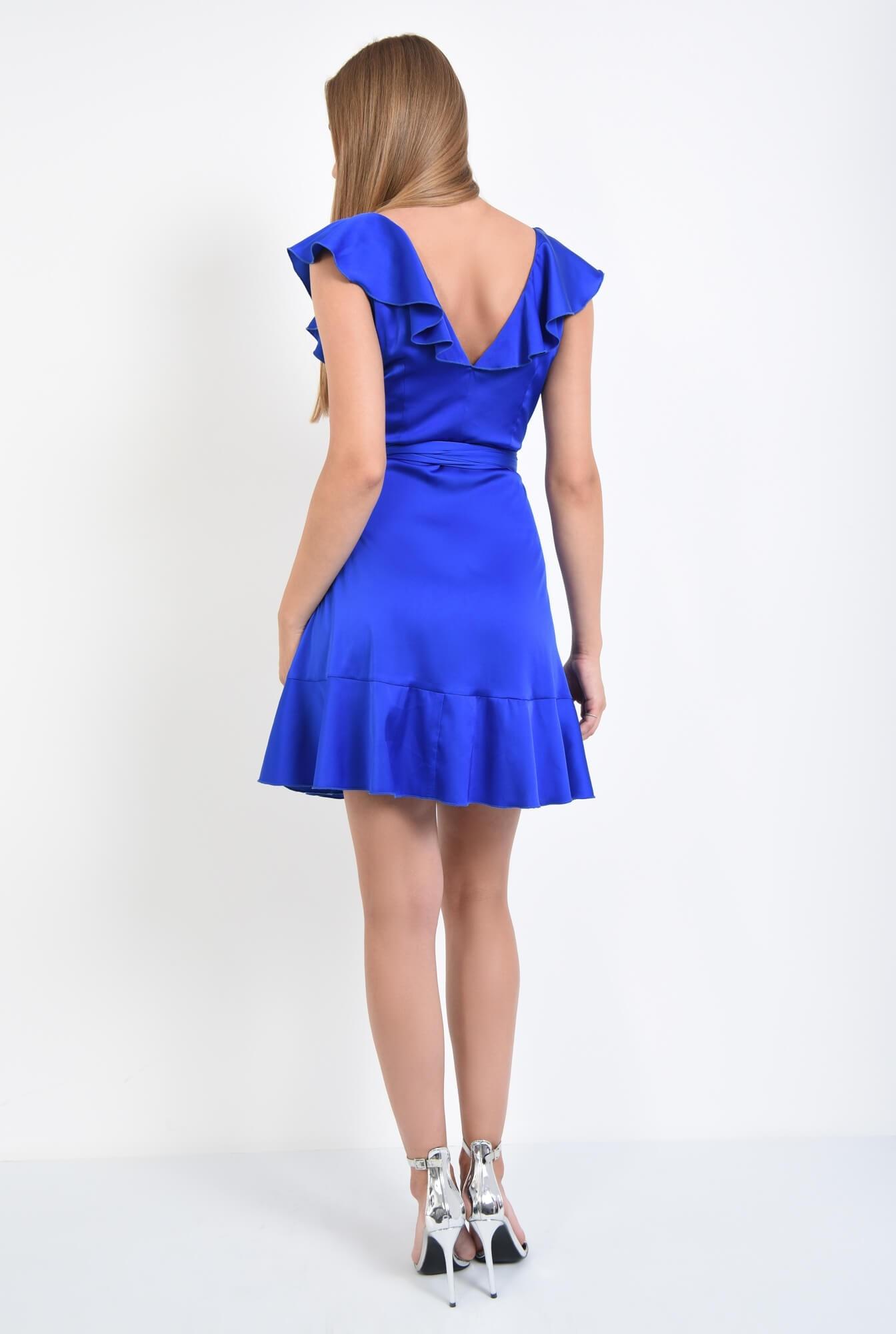 1 - rochie de seara, scurta, albastru, electric, volane, cordon