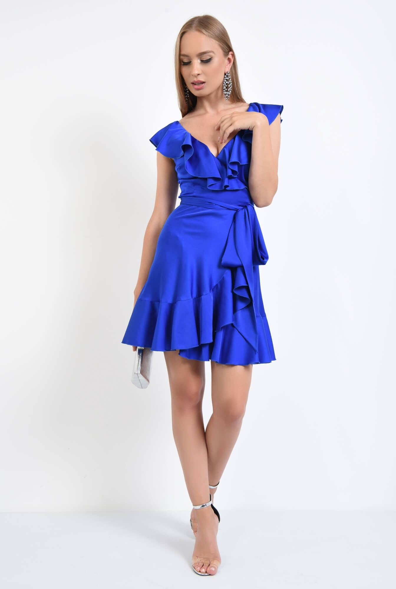 3 - rochie de seara, scurta, albastru, electric, volane, cordon