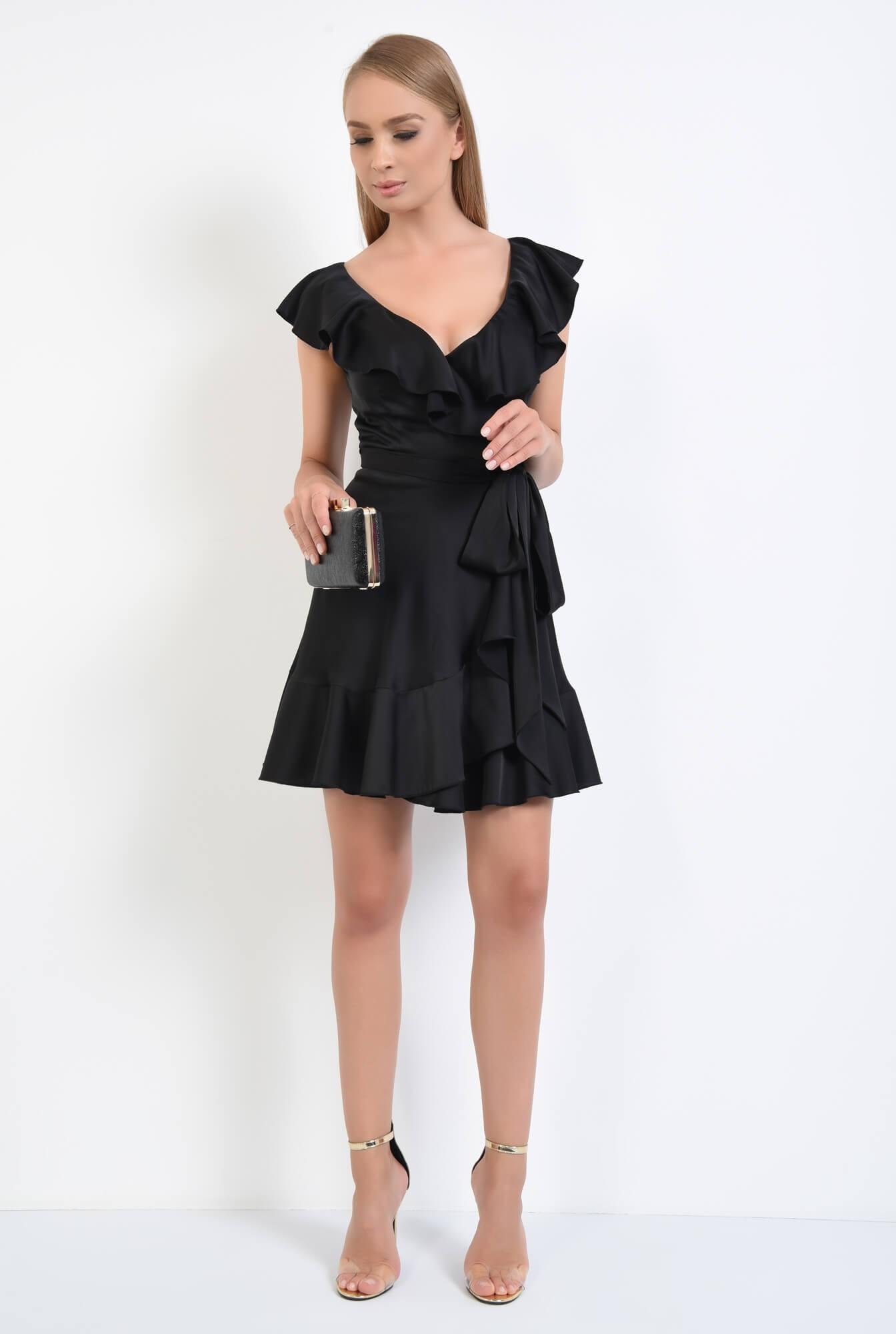 3 - rochie de seara, scurta, petrecuta, cordon, volane