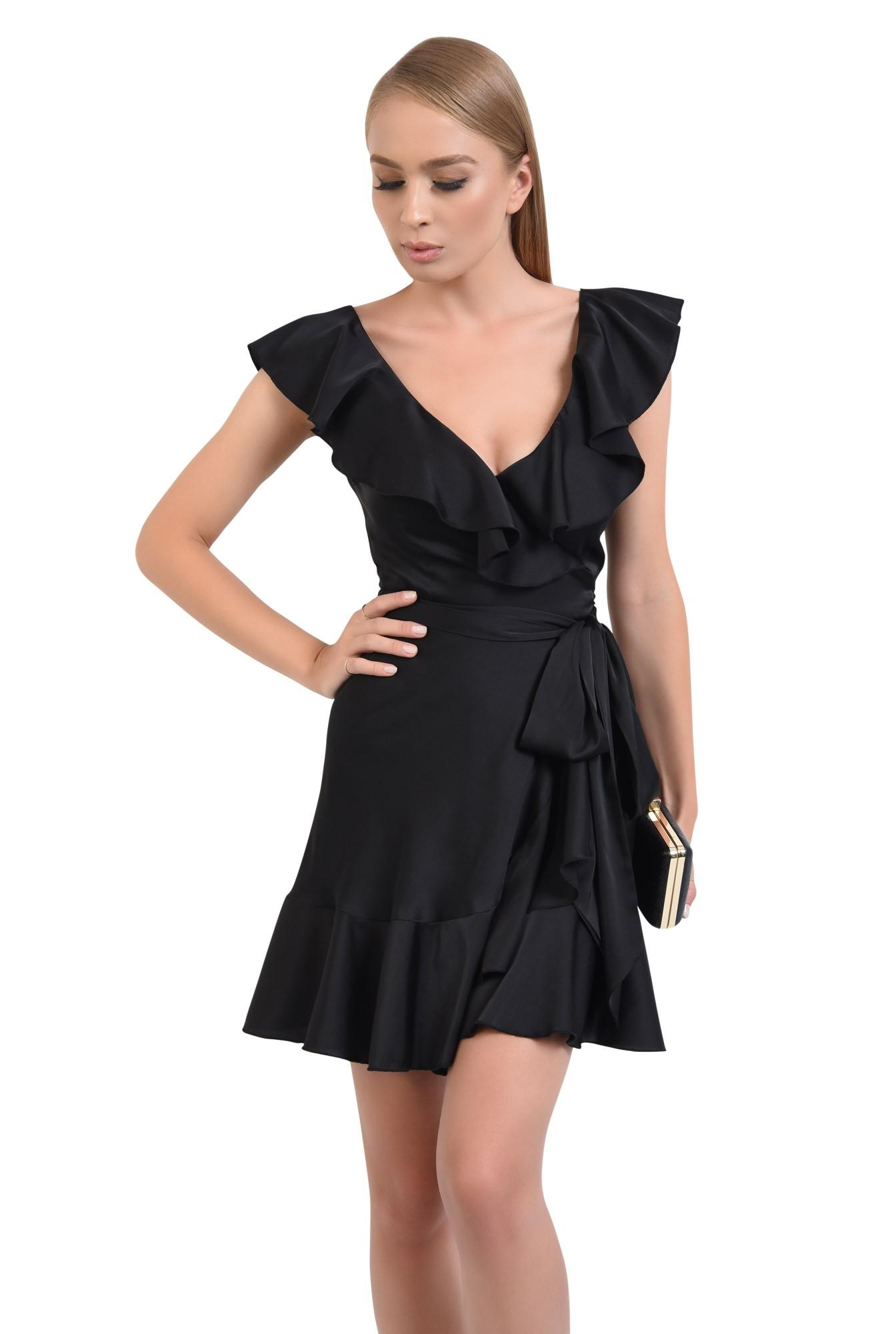 0 - rochie de seara, scurta, petrecuta, cordon, volane