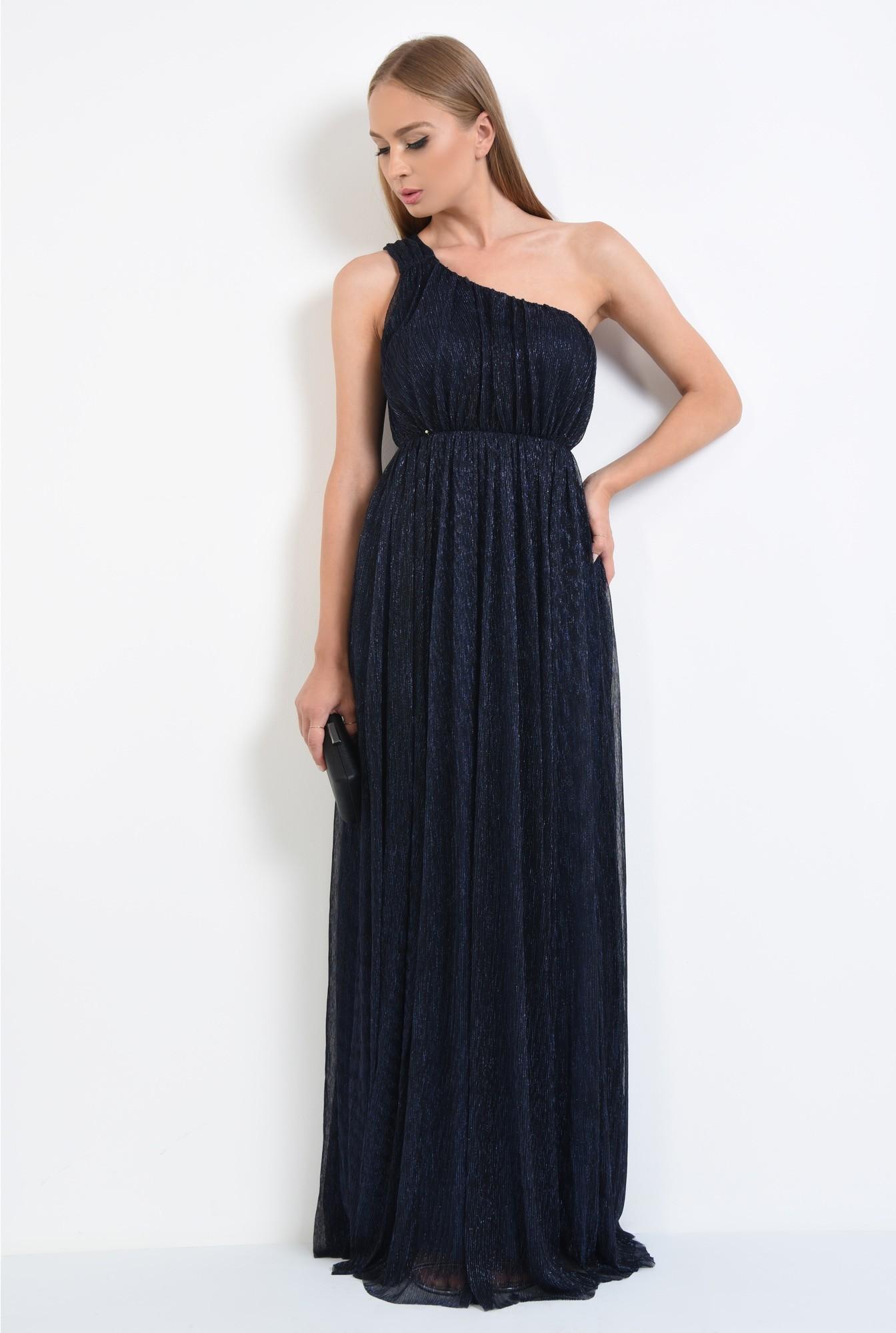 3 - rochie de seara, lunga, lurex, bleumarin, umar gol