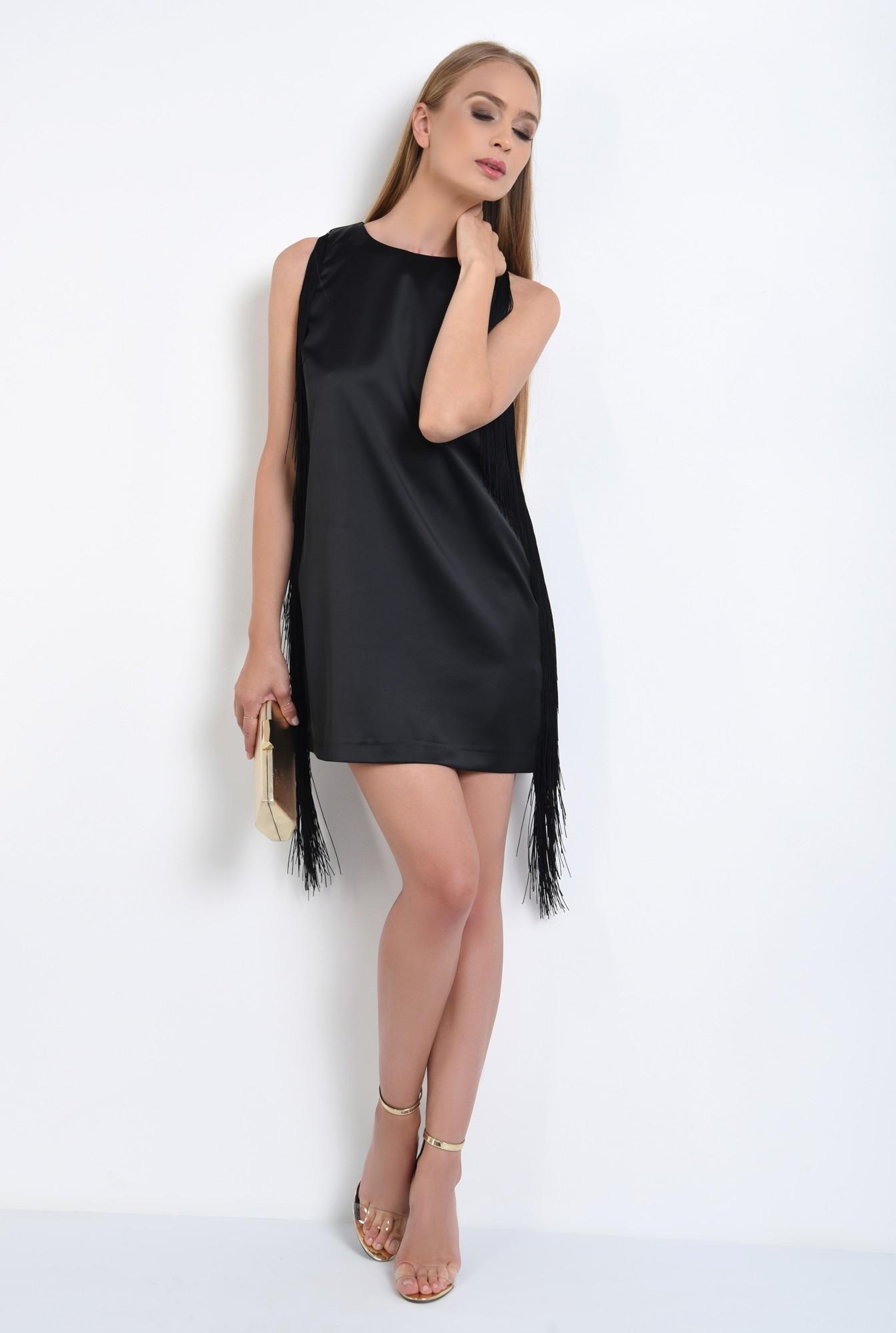 3 - rochie de seara, scurta, satin, cu franjuri, negru