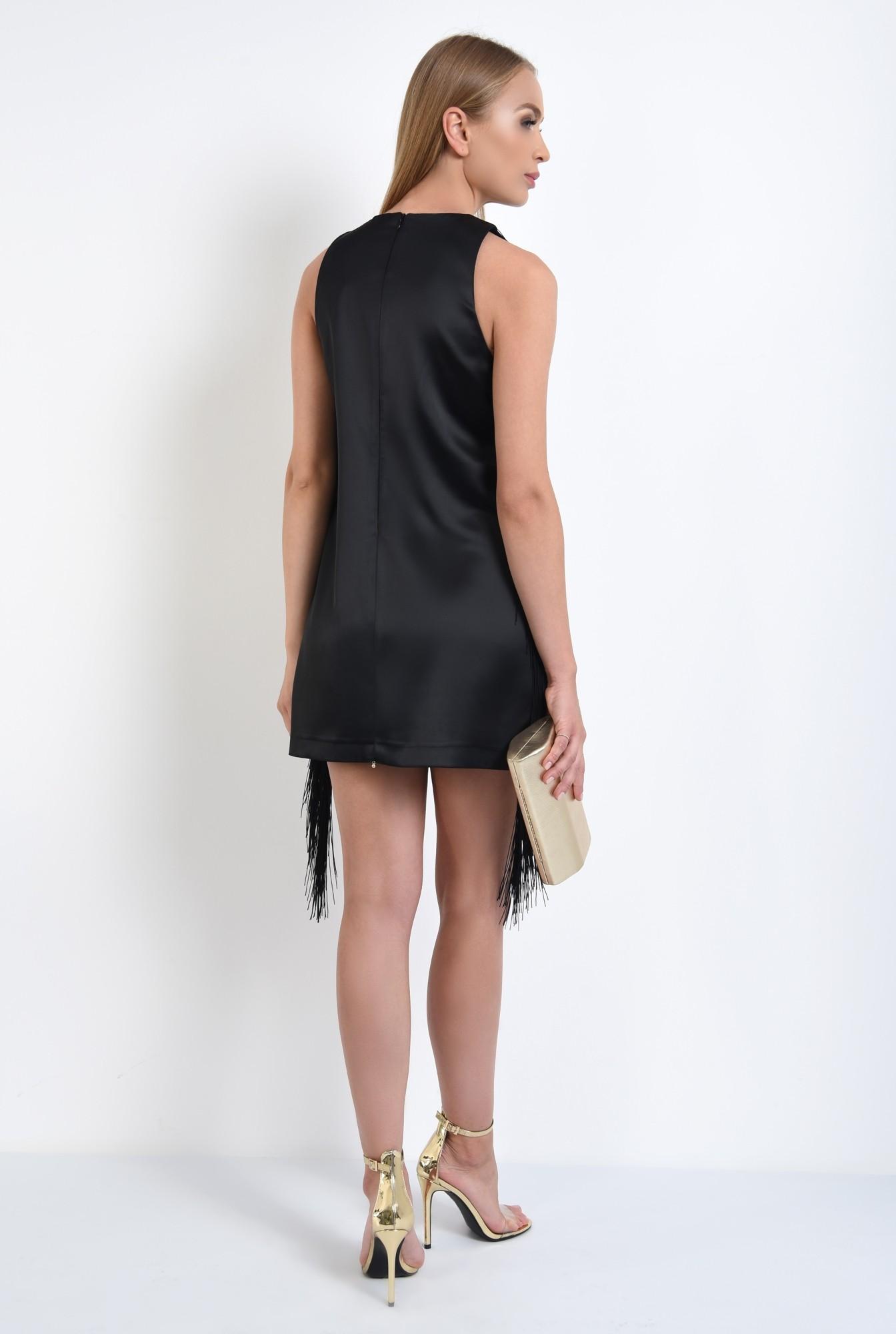 1 - rochie de seara, scurta, satin, cu franjuri, negru