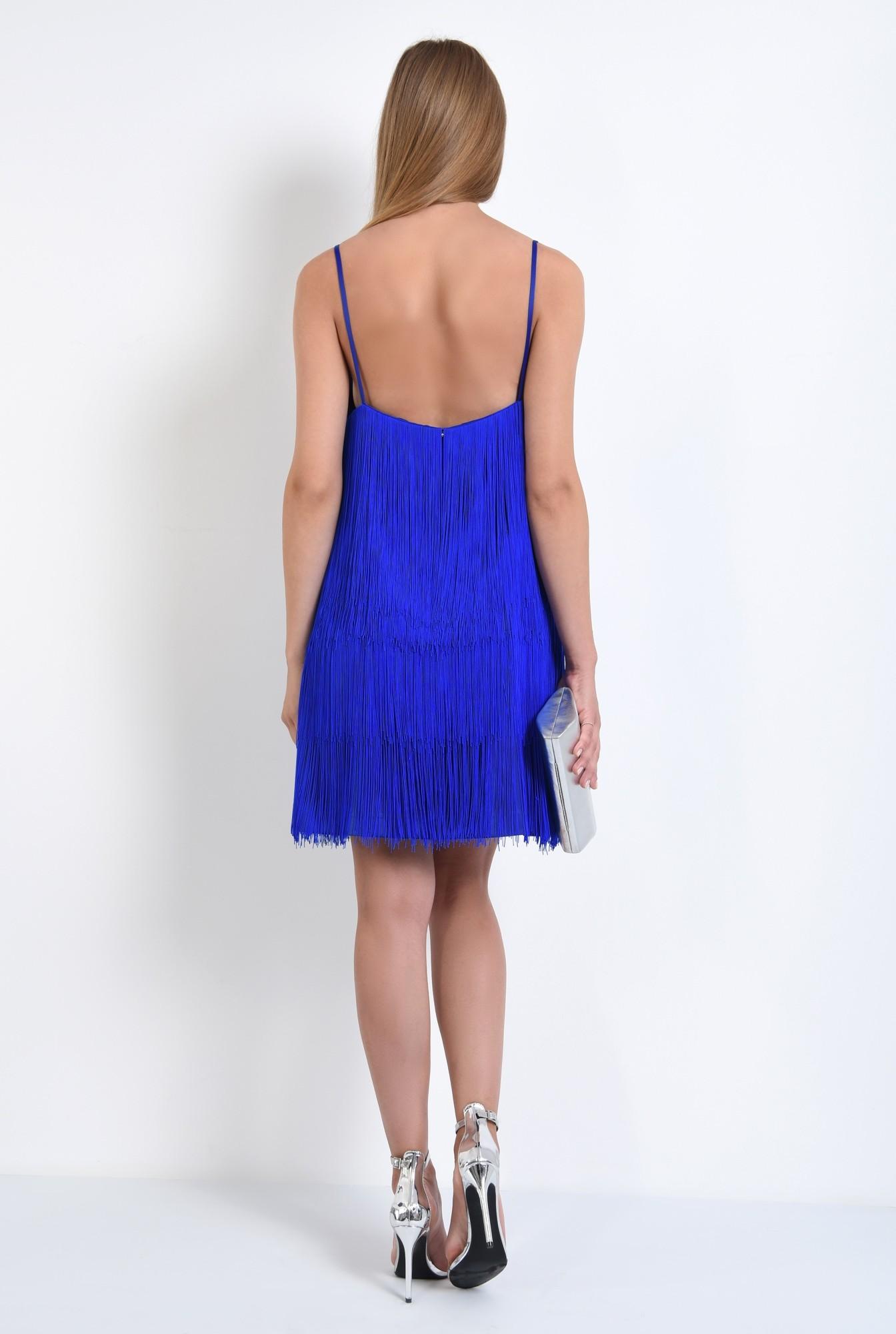 1 - 360 - rochie de seara albastra, cu frajuri, slip on, croi drept, anchior