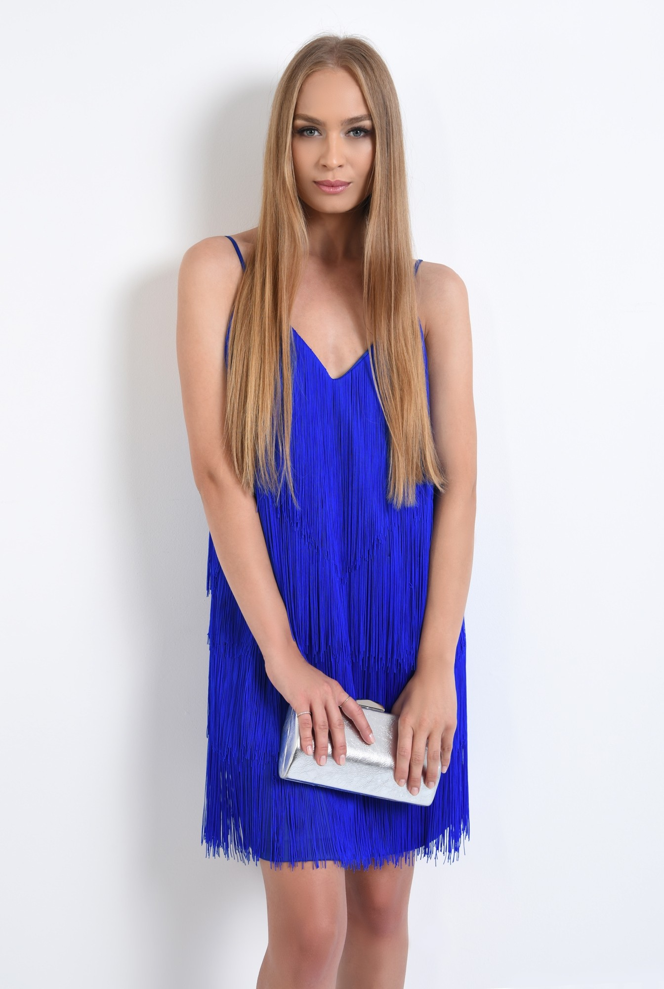 2 - 360 - rochie de seara albastra, cu frajuri, slip on, croi drept, anchior